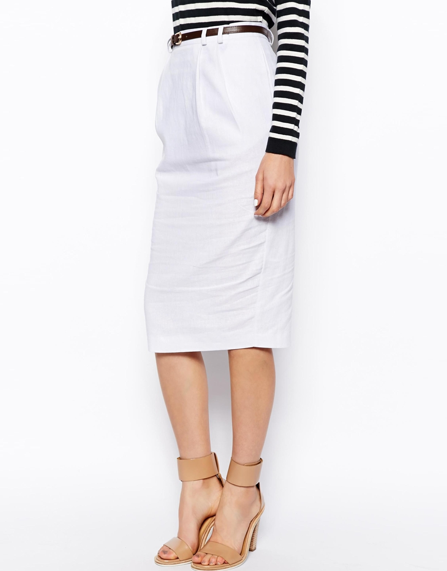 asos linen pencil skirt with belt in white lyst