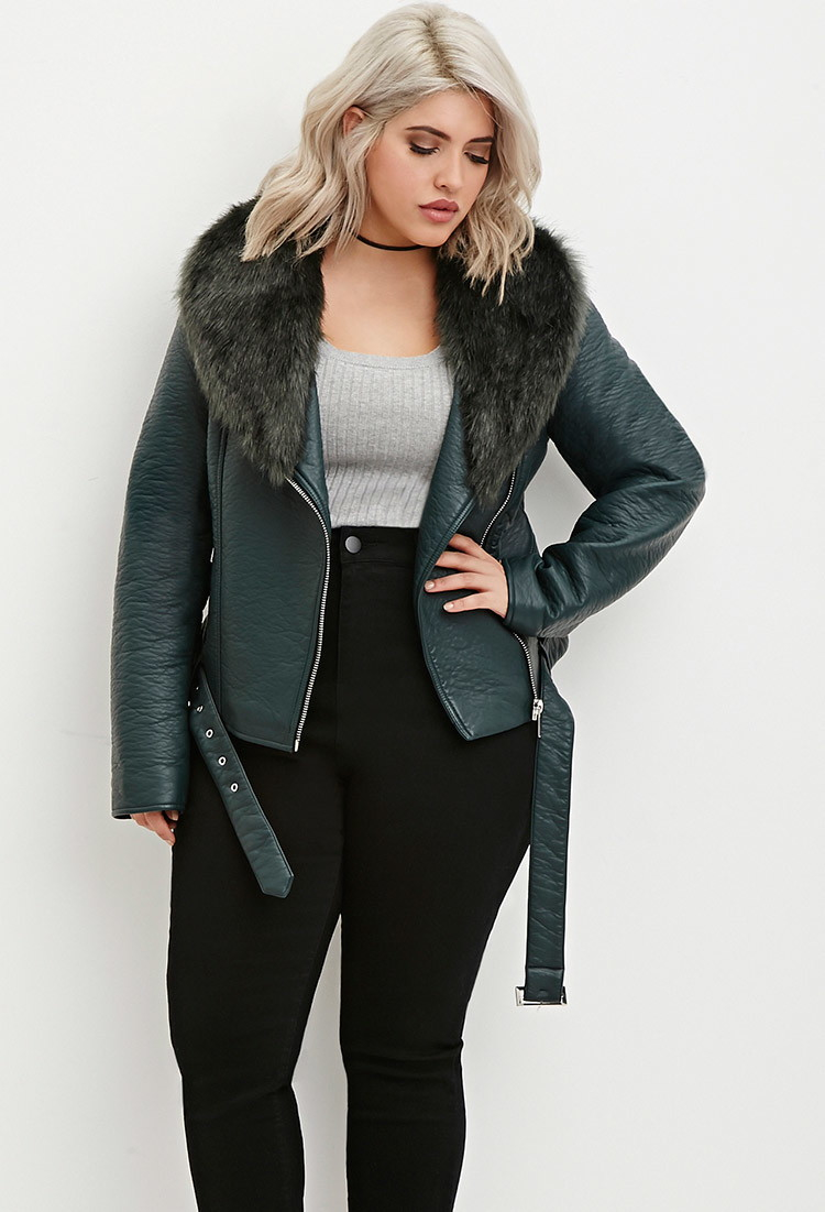 a538a768e0 Forever 21 Plus Size Faux Fur Moto Jacket You've Been Added To The ...