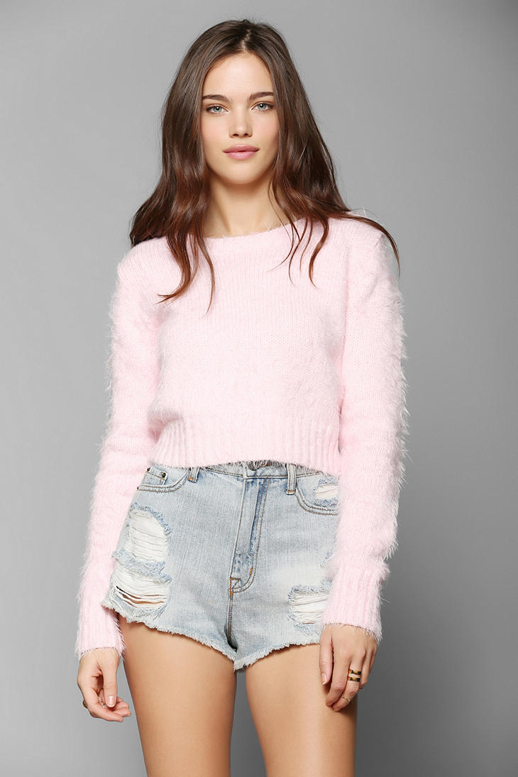 Glamorous Fuzzy Cropped Sweater in Pink | Lyst