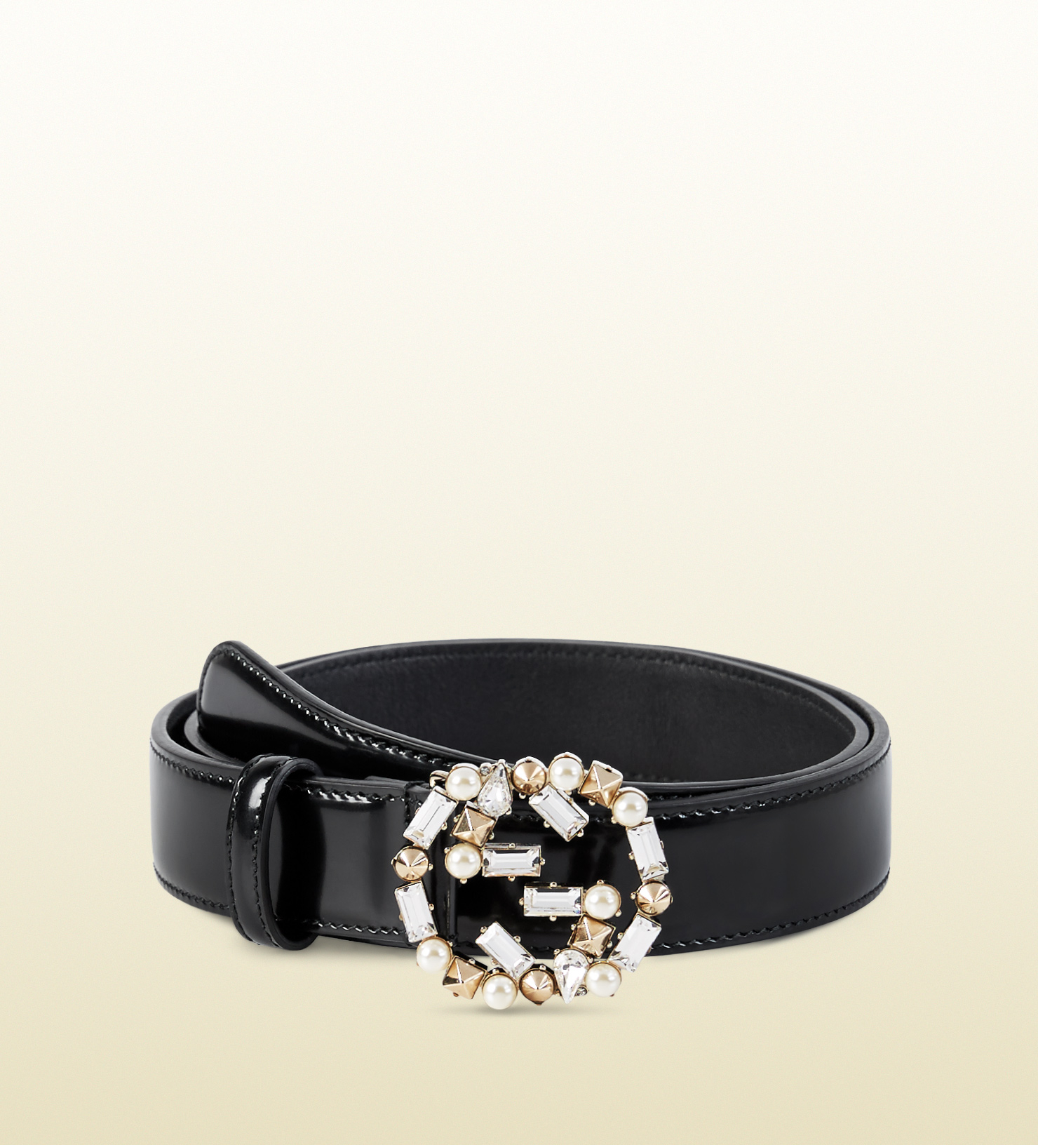 Gucci Leather Belt With Pearl And Crystal Interlocking G ...