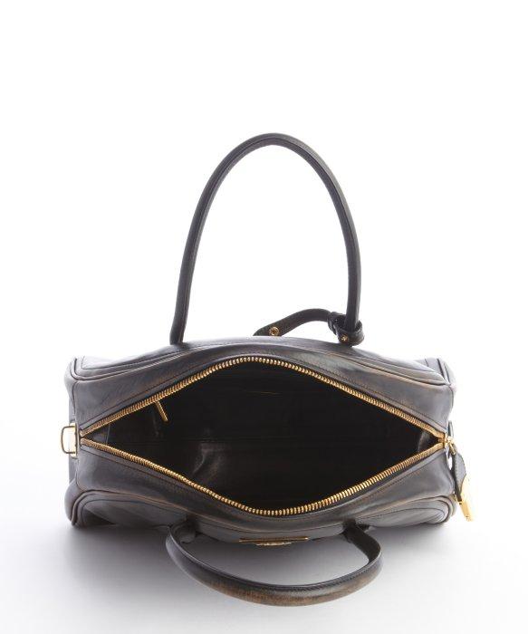 Prada Nero Distressed Leather Logo Imprinted Top Handle Bag in ...