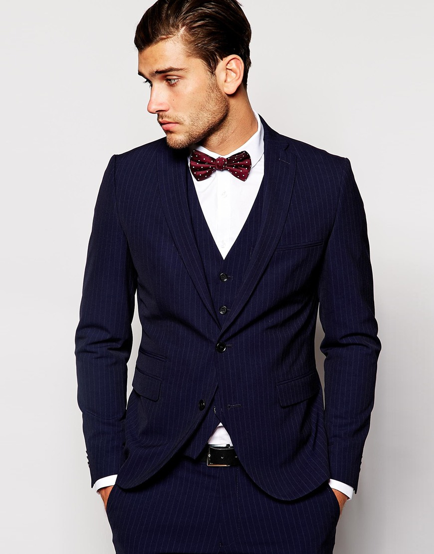Selected Selected Pinstripe Suit Jacket In Slim Fit in Blue for