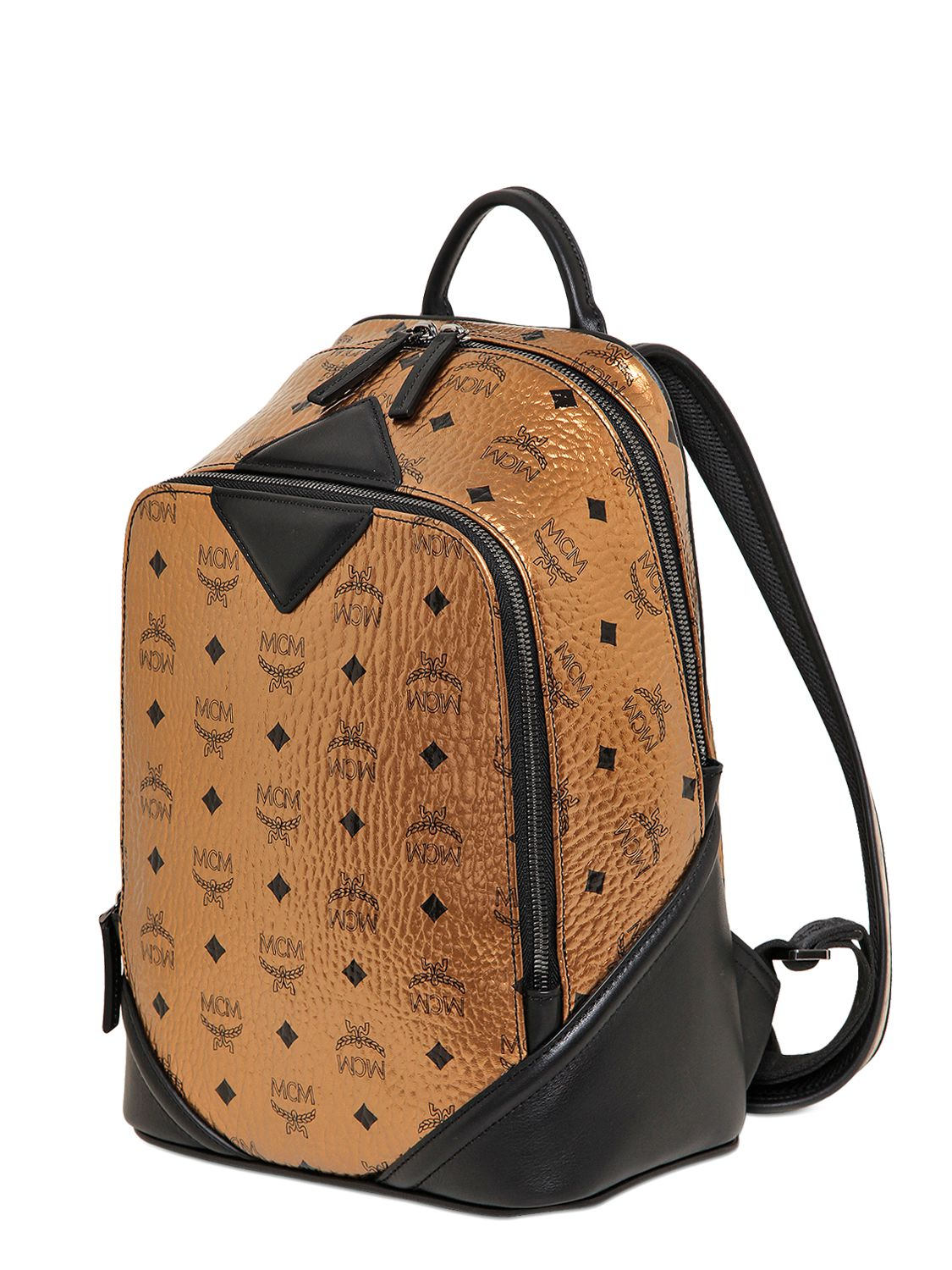 Lyst Mcm Small Duke Laminated Backpack In Metallic