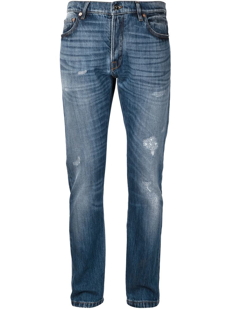 Lyst Valentino Straight Leg Jeans In Blue For Men