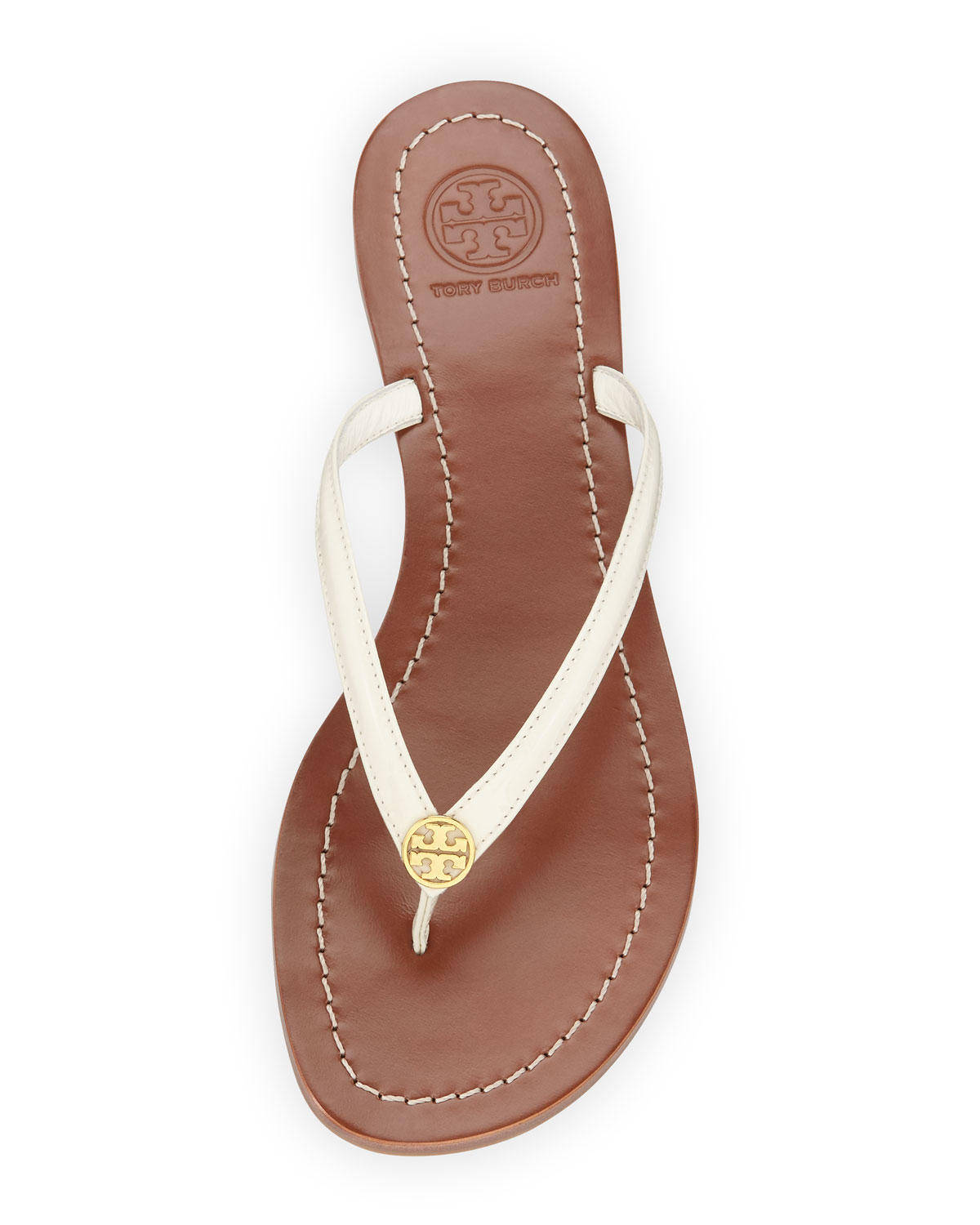 b0fc54c457b Lyst - Tory Burch Terra Patent Thong Sandals in White