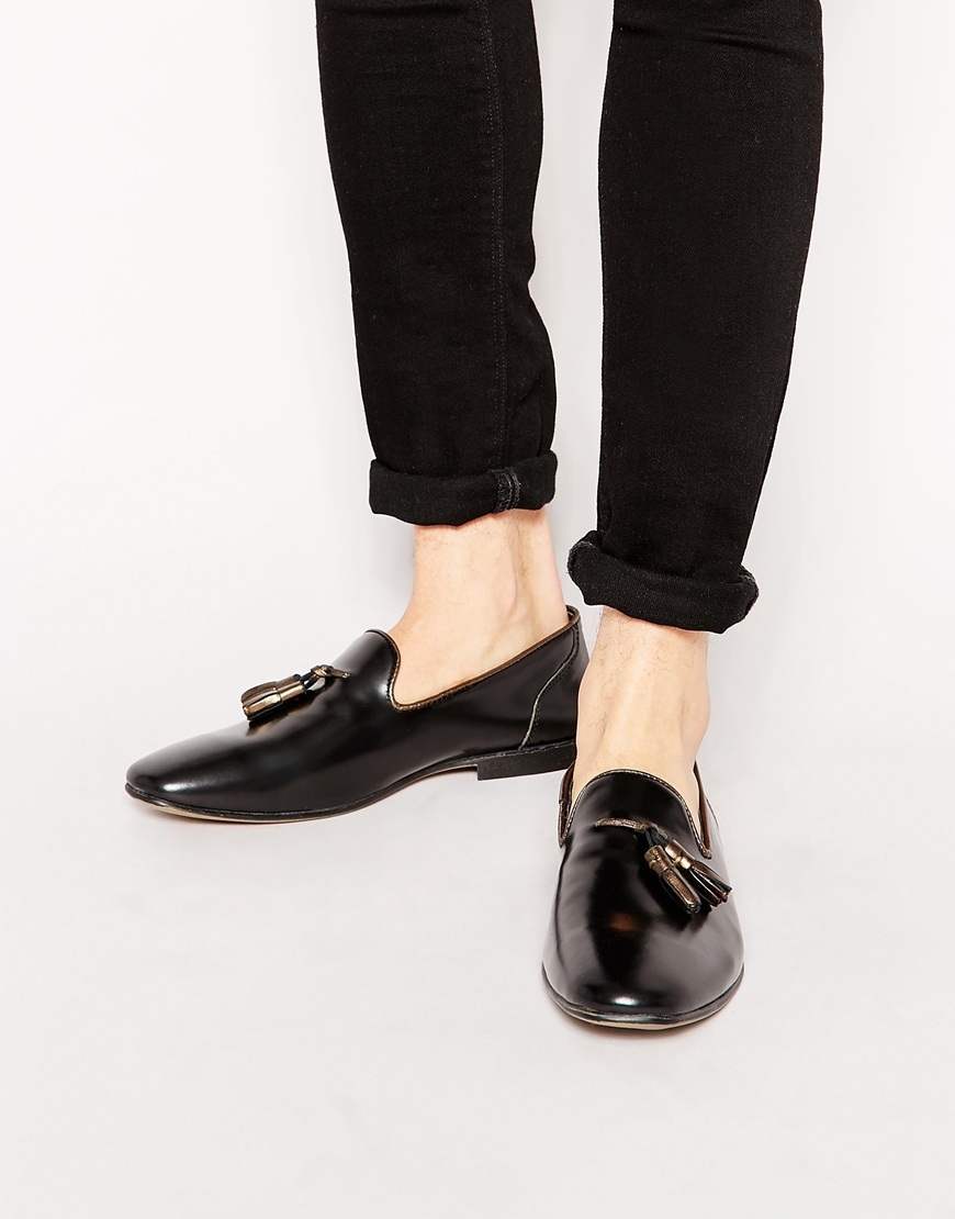 big discount cheap online ASOS Tassel Loafers in Black Leather outlet where can you find sale recommend clearance many kinds of Tcn4bm