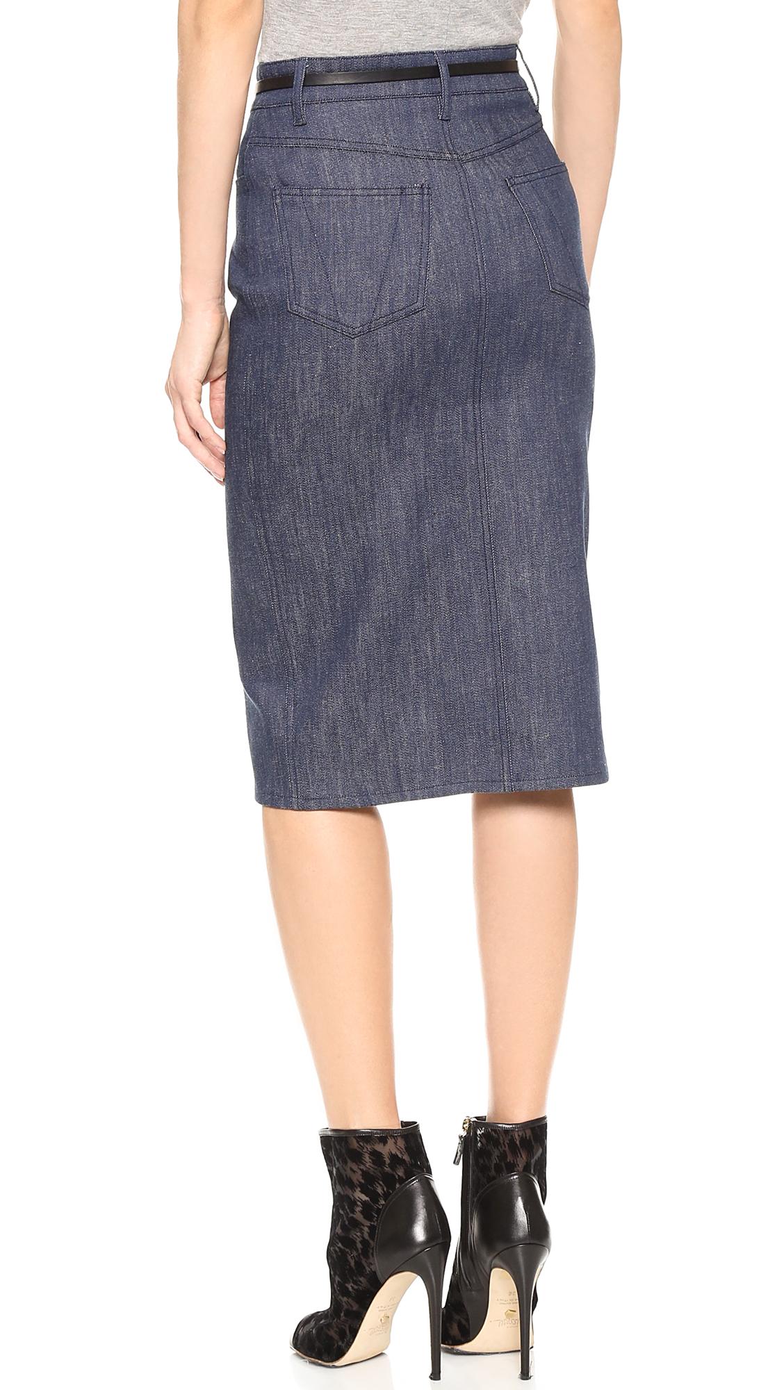 Lyst Victoria Beckham Pencil Skirt Raw Denim In Blue