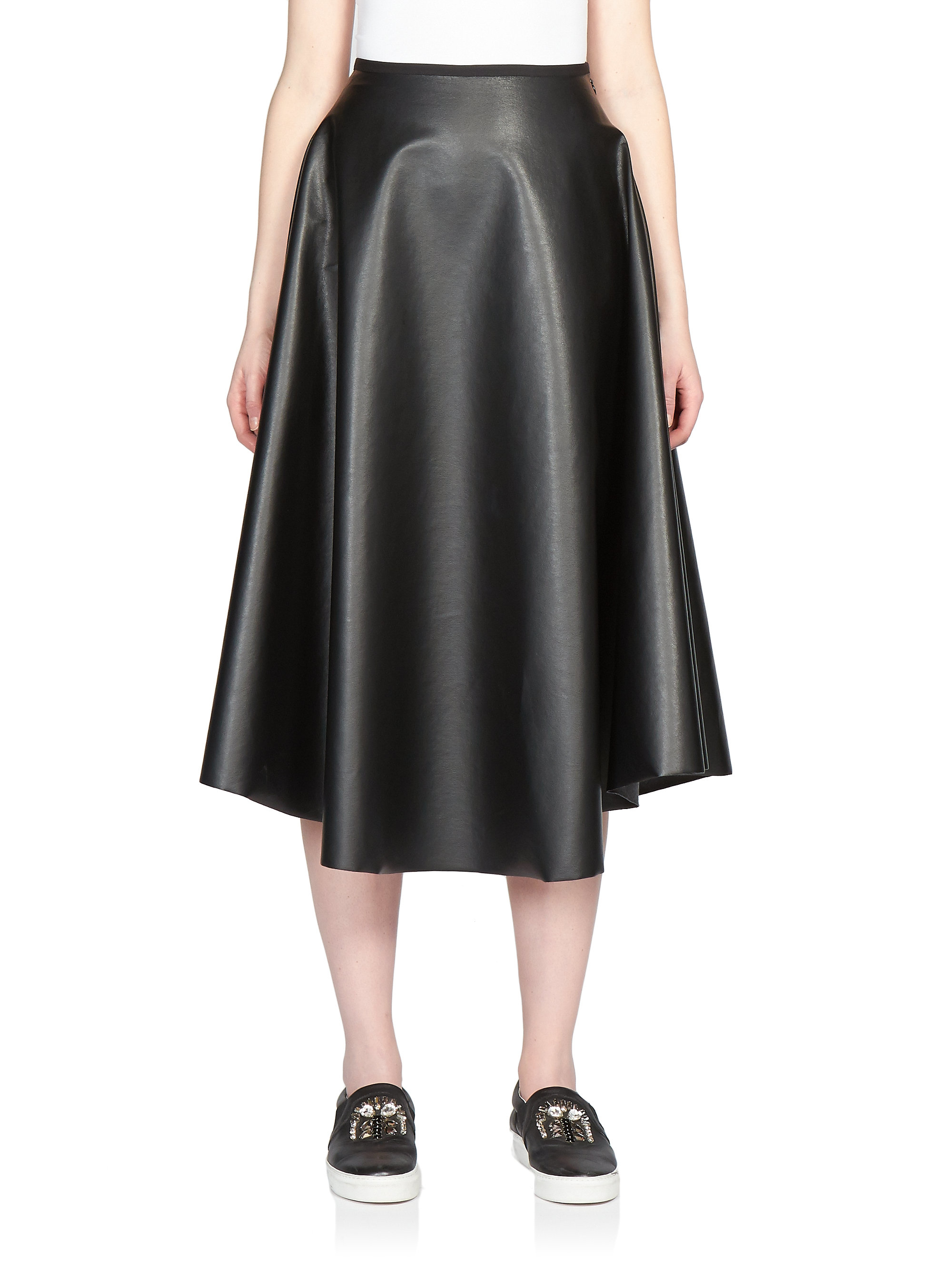 lanvin faux leather a line skirt in black lyst