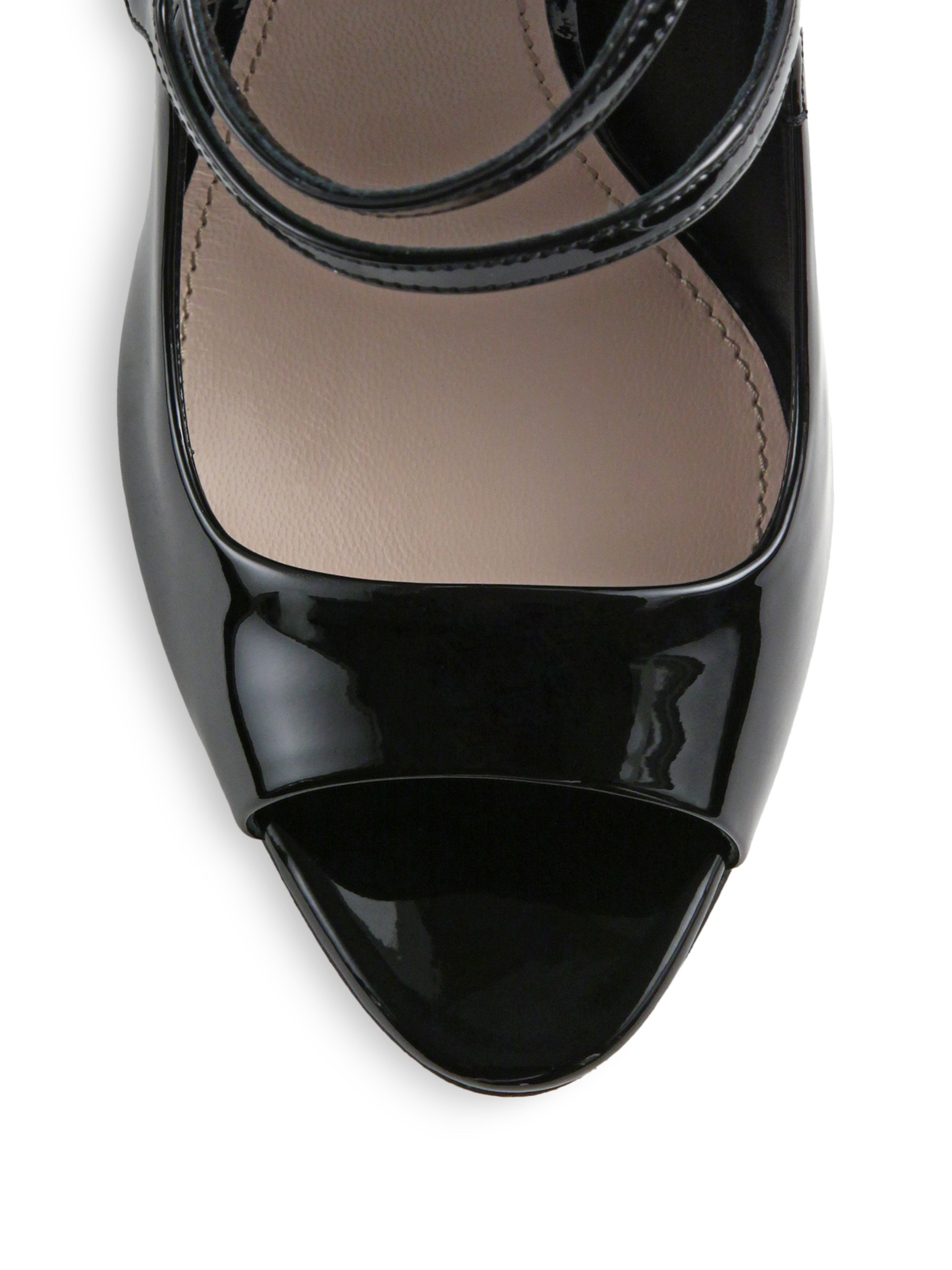 0b0de5cceb9 Lyst - Miu Miu Patent-leather Double-strap Mary Jane Pumps in Black