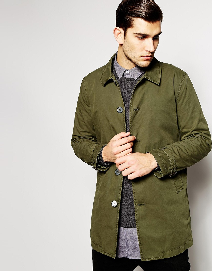 Asos Trench Coat In Green For Men Lyst