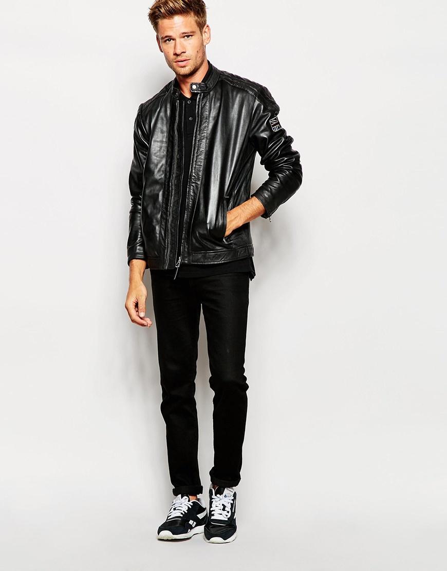Lyst Pepe Jeans Leather Jacket Lennon In Black For Men