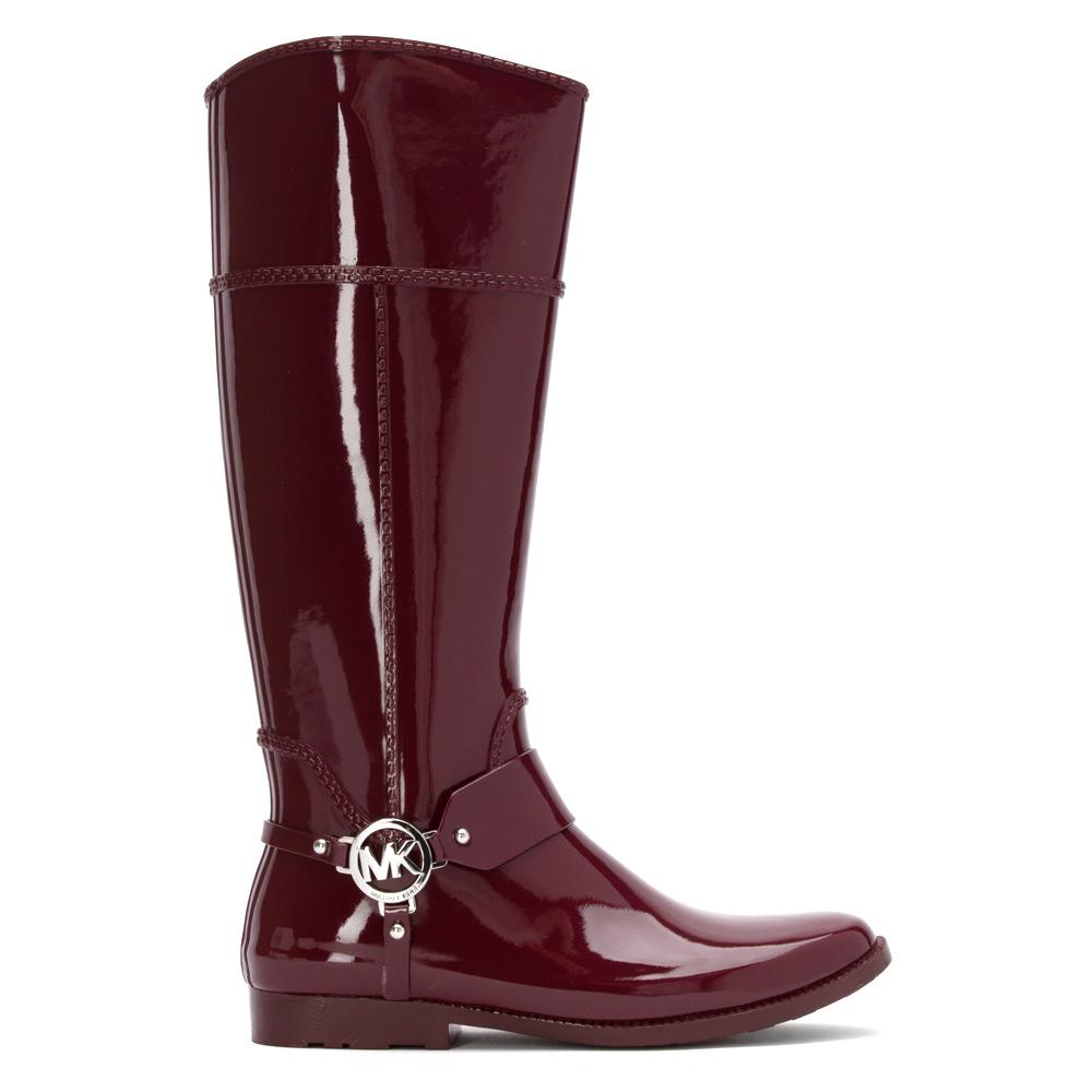 lyst michael michael kors fulton harness tall rain boot in purple. Black Bedroom Furniture Sets. Home Design Ideas