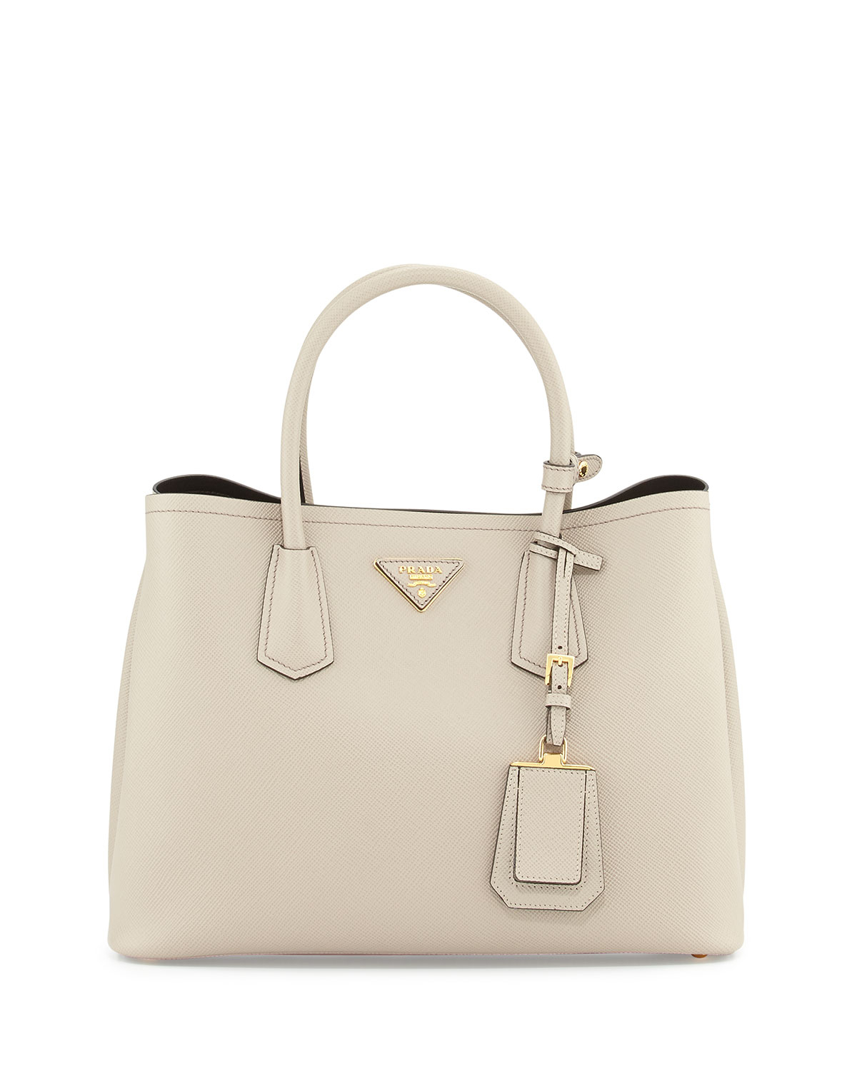 d4752524ea86 ... where to buy lyst prada saffiano cuir small double bag in natural 8c3c8  406e7 ...