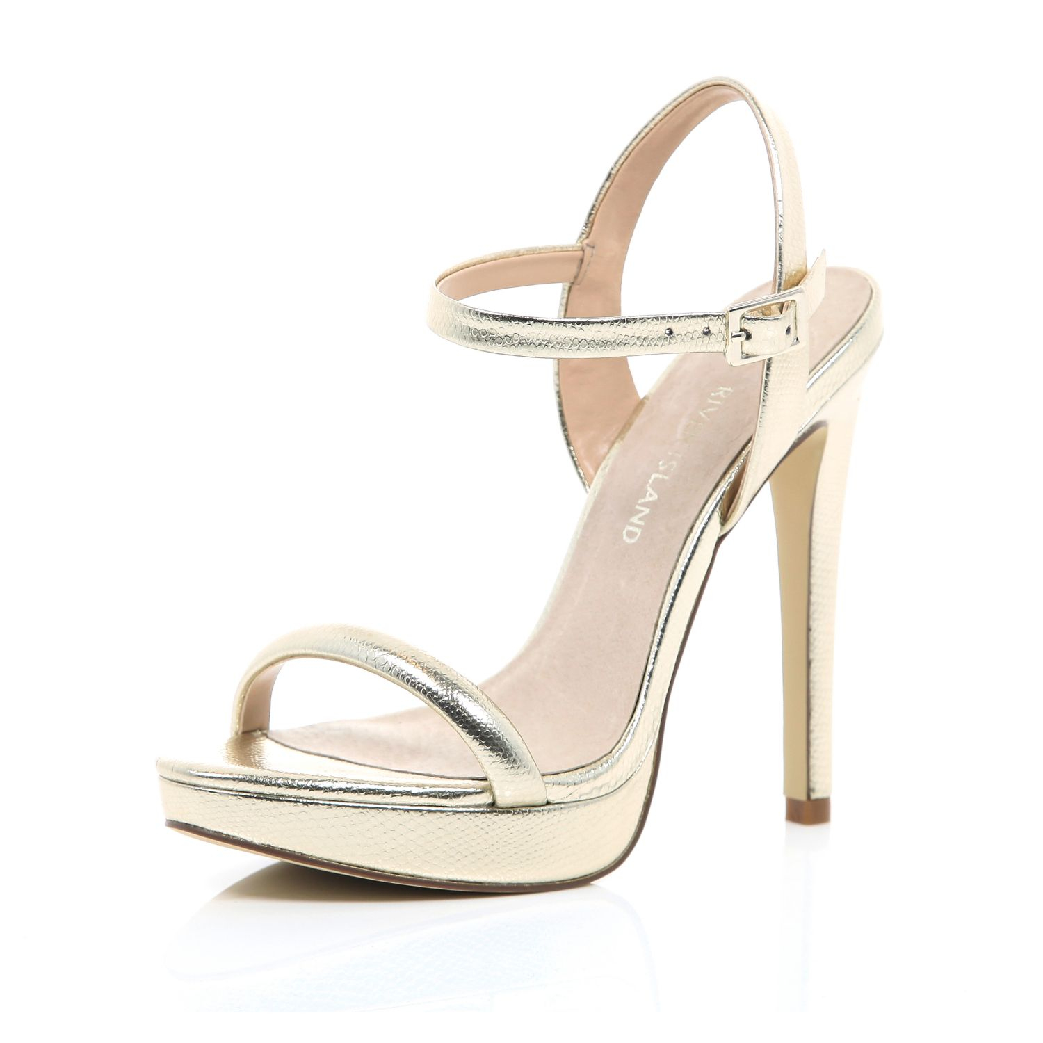 0c34fc7186e River Island Gold Barely There Platform Sandals in Metallic - Lyst