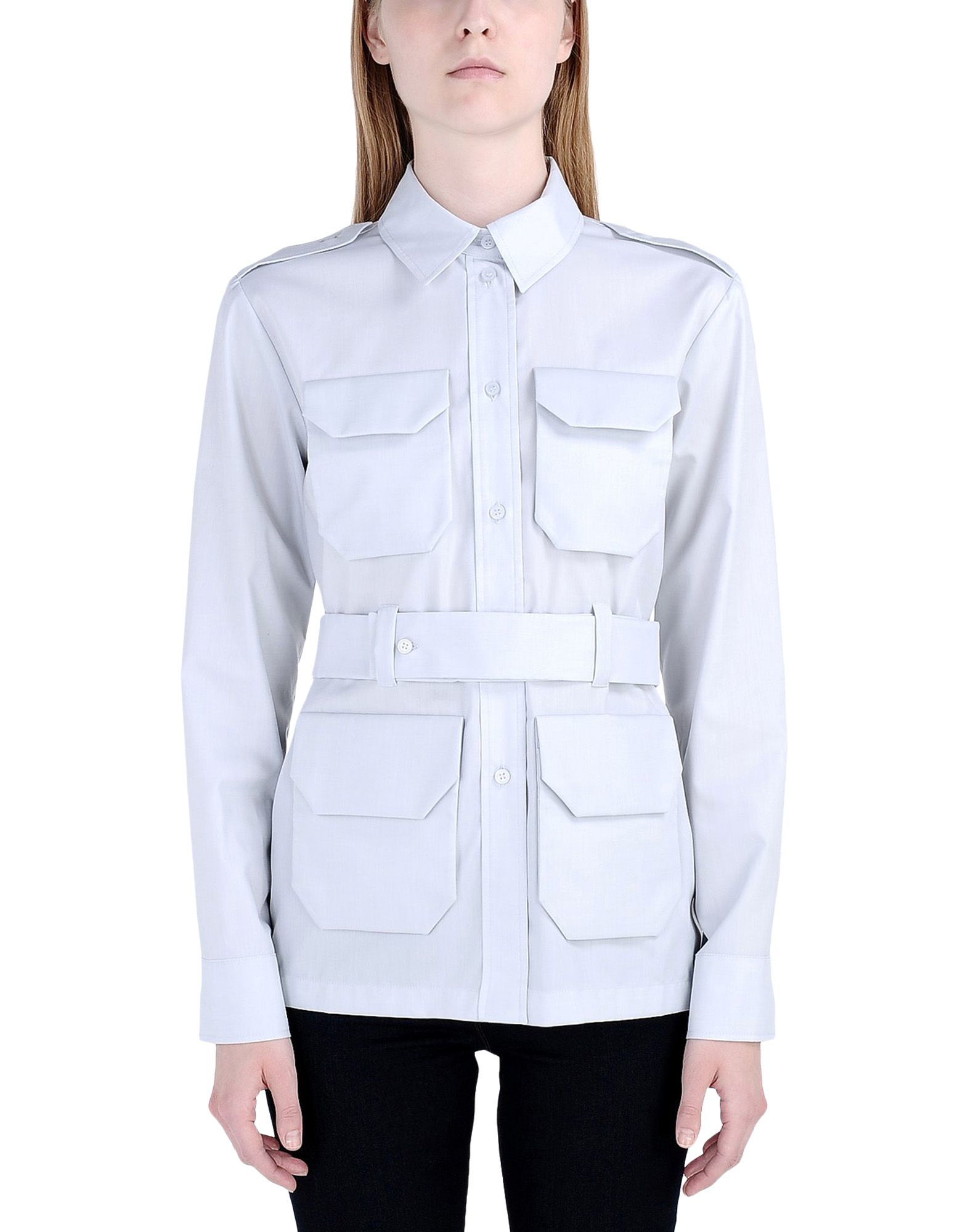 Victoria Beckham Long Sleeve Shirt In Gray Light Grey Lyst