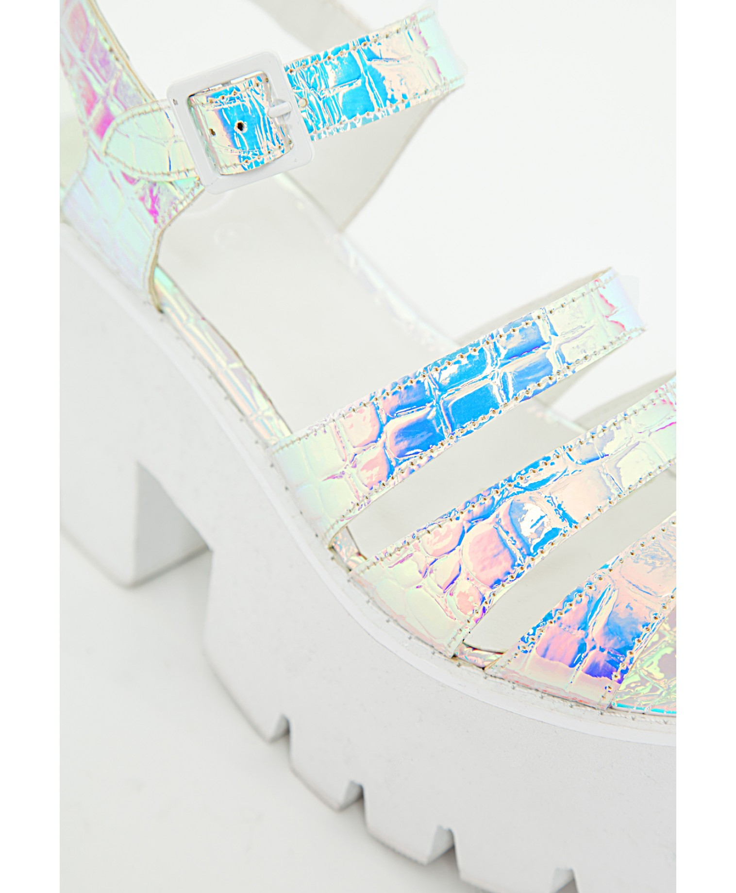 89a5caa8666 Lyst - Missguided Cleated Chunky Flatform Sandals Iridescent White ...