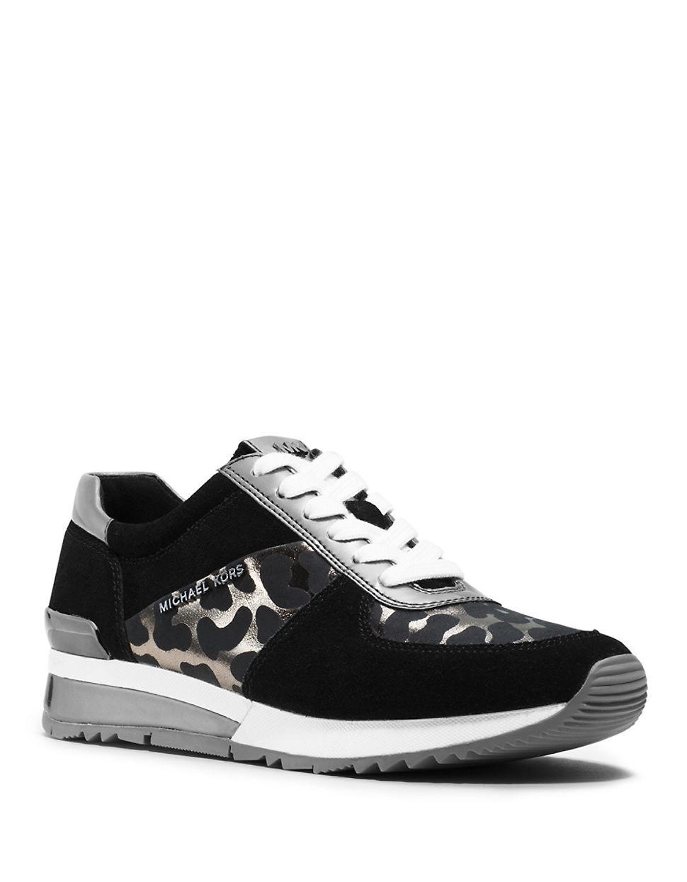 michael michael kors allie wrap trainer sneakers in black for men lyst. Black Bedroom Furniture Sets. Home Design Ideas