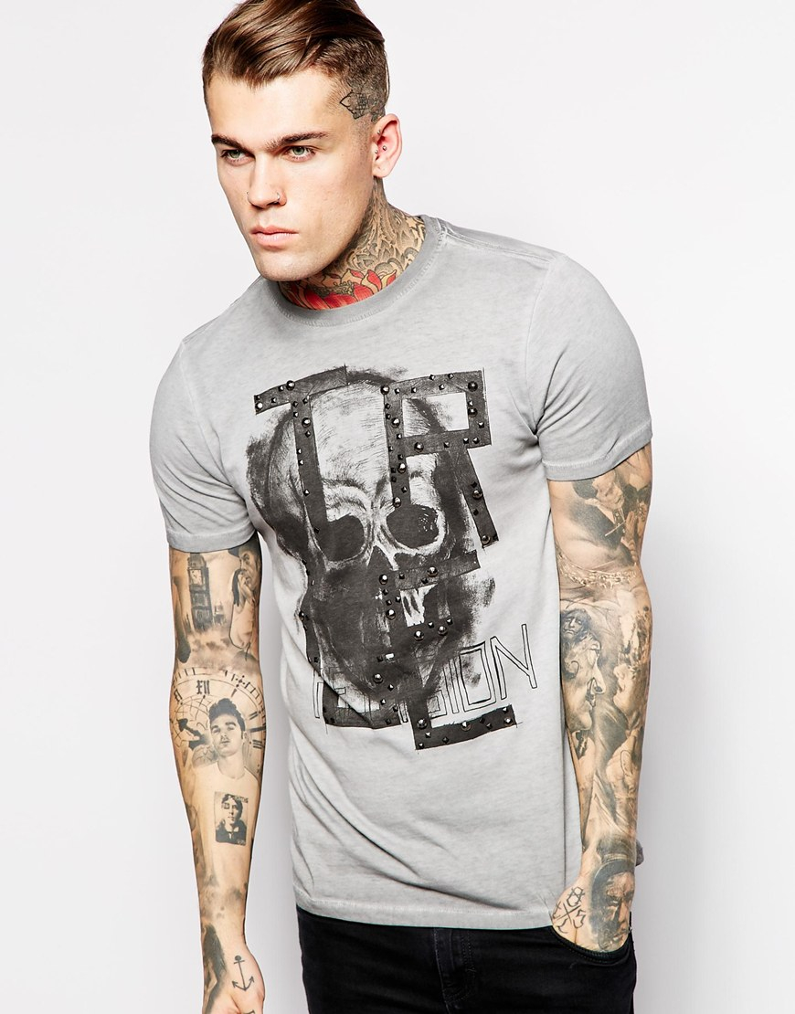 true religion t shirt overdyed skull studded sketch print in gray for men lyst. Black Bedroom Furniture Sets. Home Design Ideas