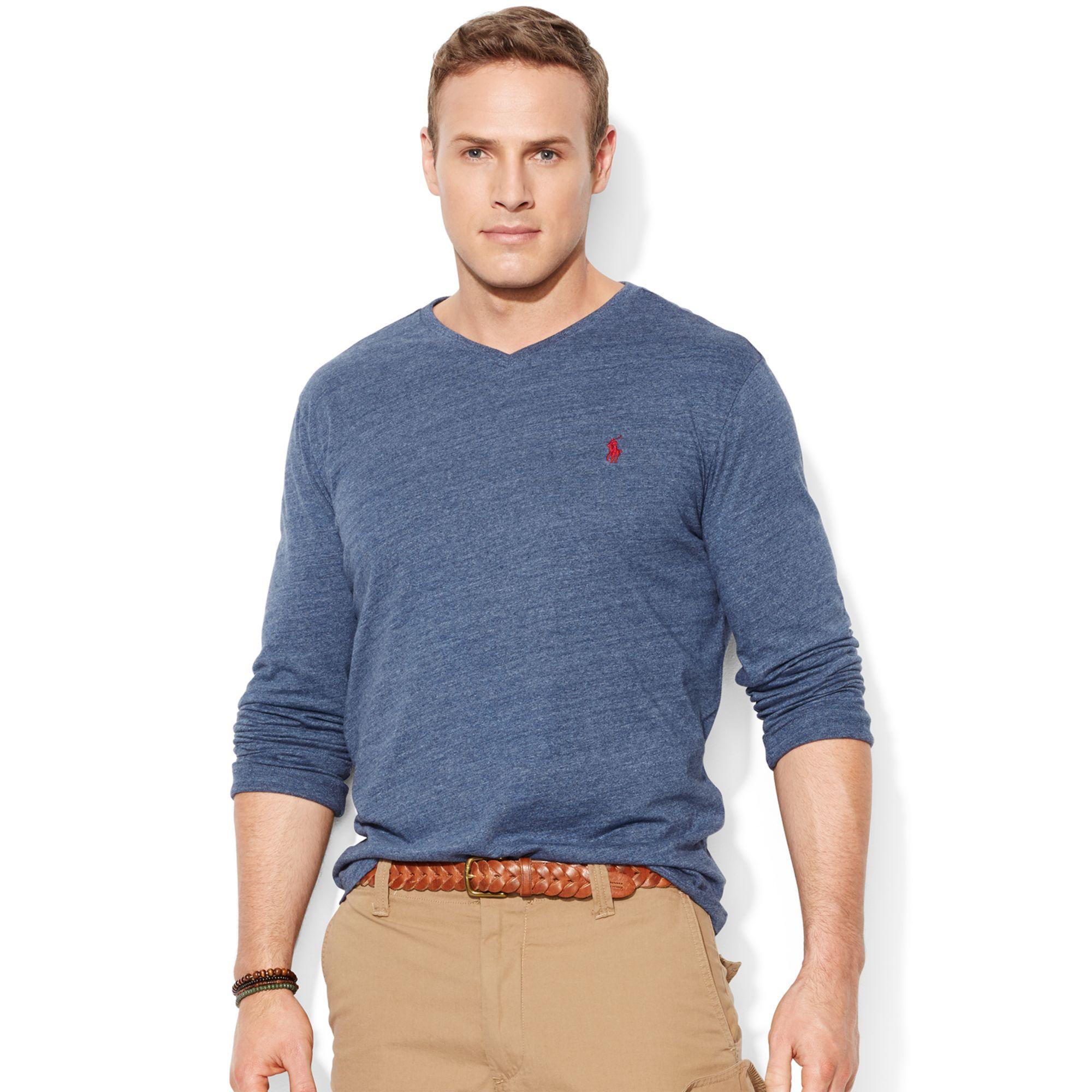 Polo ralph lauren big and tall long sleeve v neck t shirt for Tall men t shirts