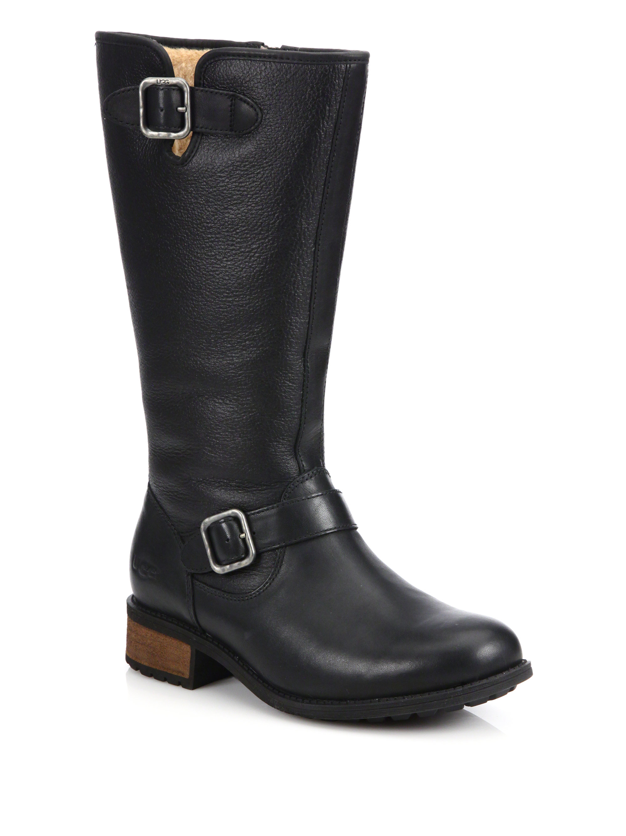 UGG Chancery Leather Womens Black Boots