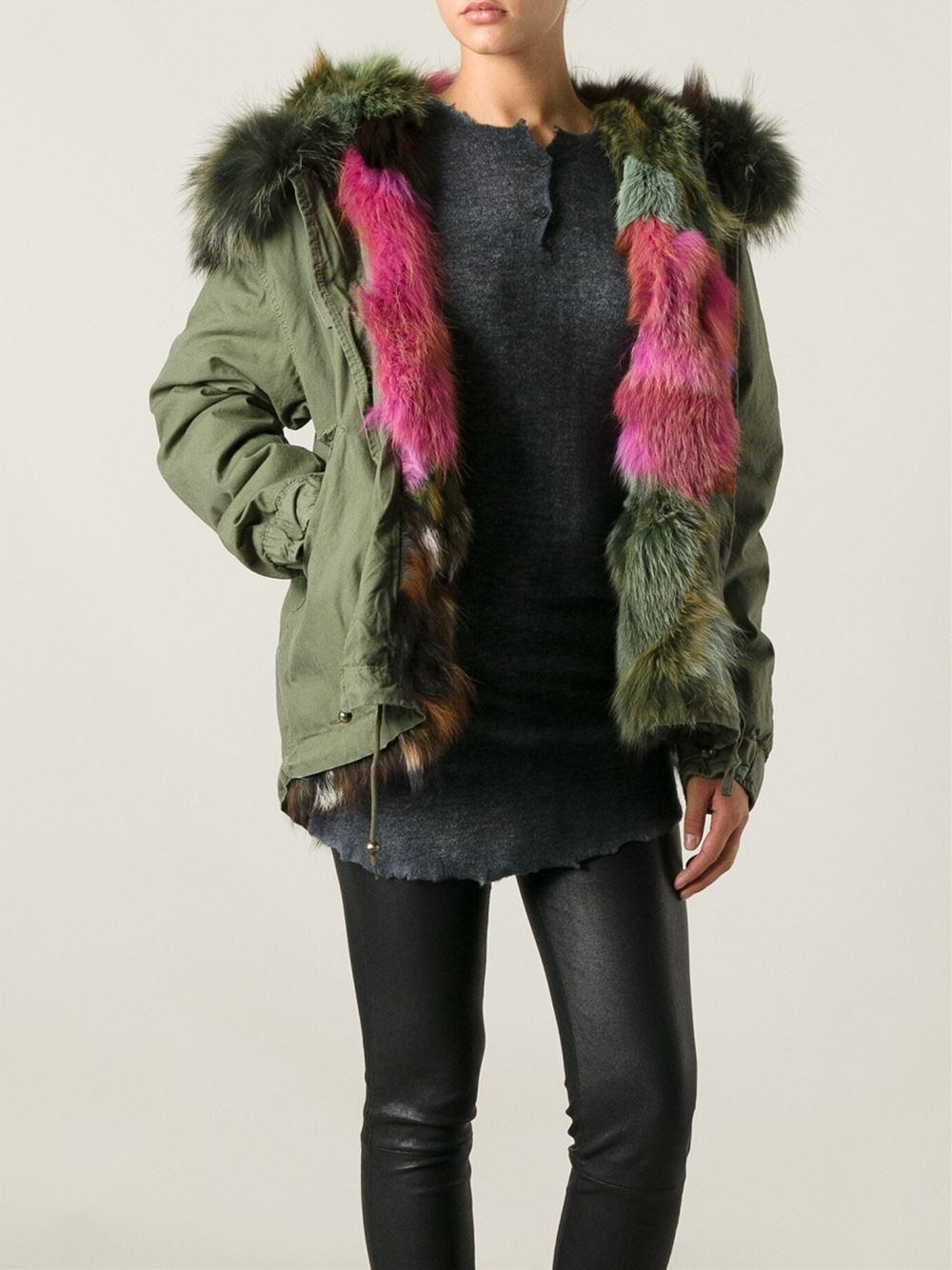 Mr & mrs italy Fur Trim Parka Coat in Green