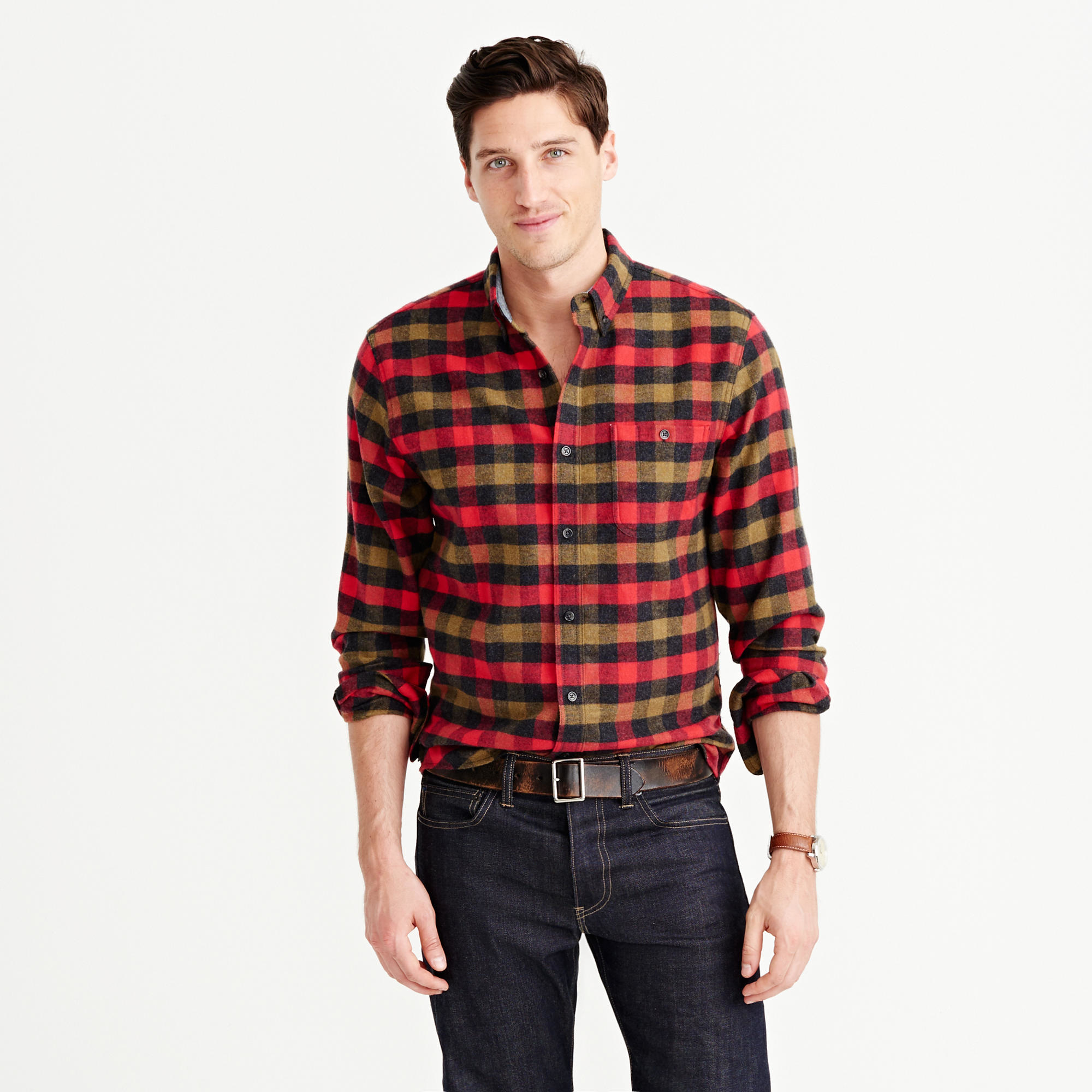 Cotton Wool Elbow Patch Shirt In Warm Red