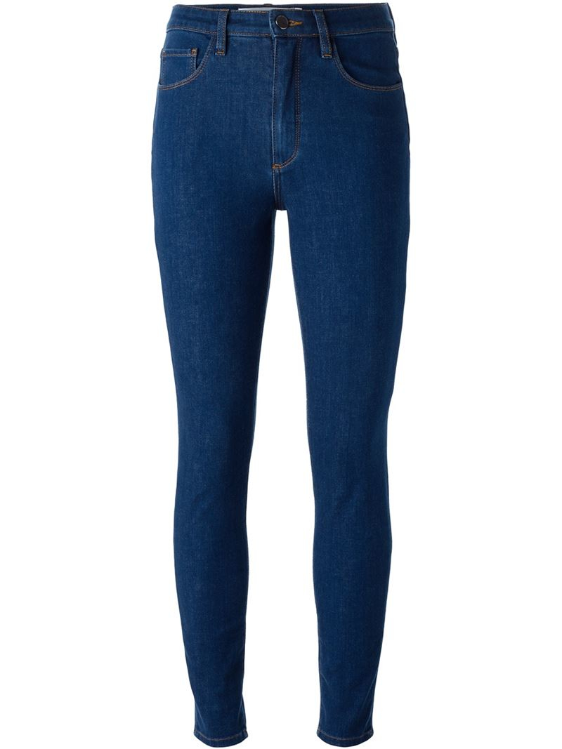 victoria beckham 39 powerhigh 39 skinny jeans in blue lyst. Black Bedroom Furniture Sets. Home Design Ideas