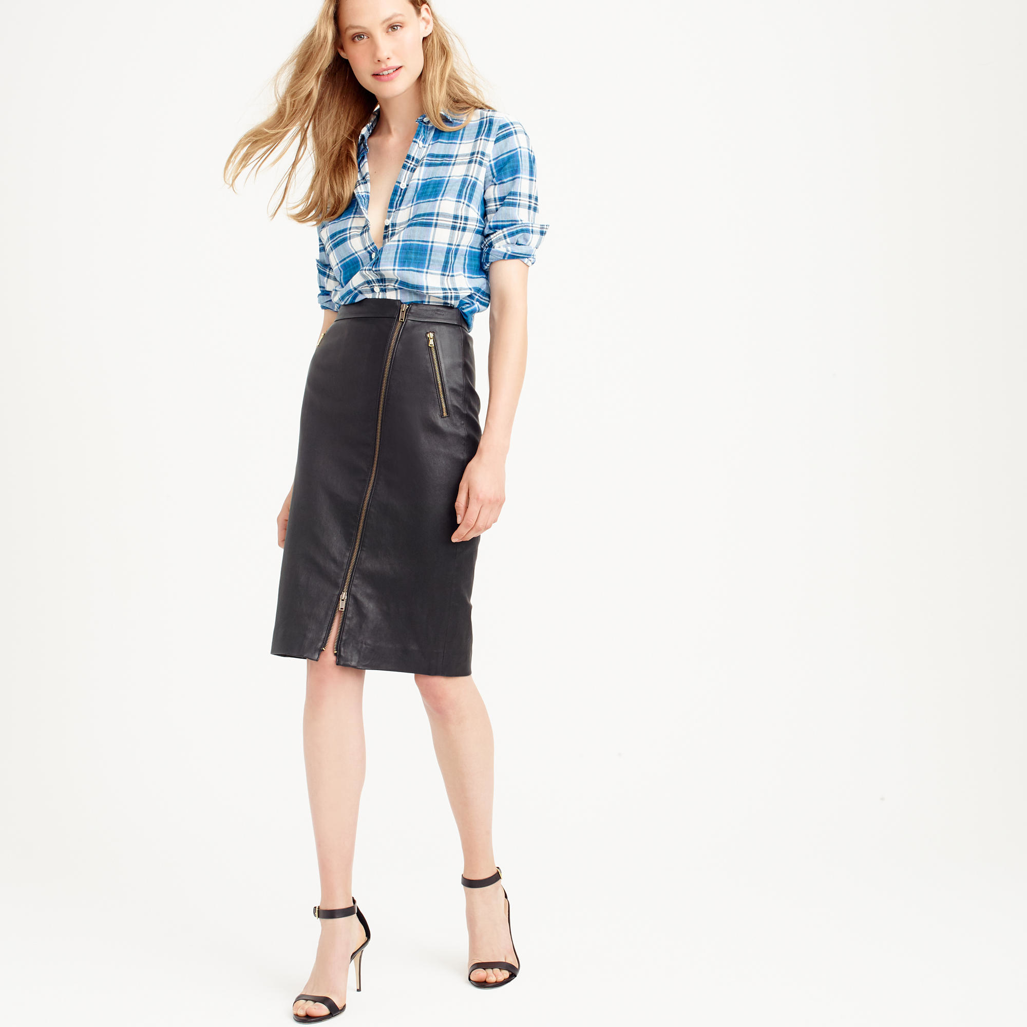 88d60ad56a J.Crew Collection Leather Motorcycle Pencil Skirt in Black - Lyst