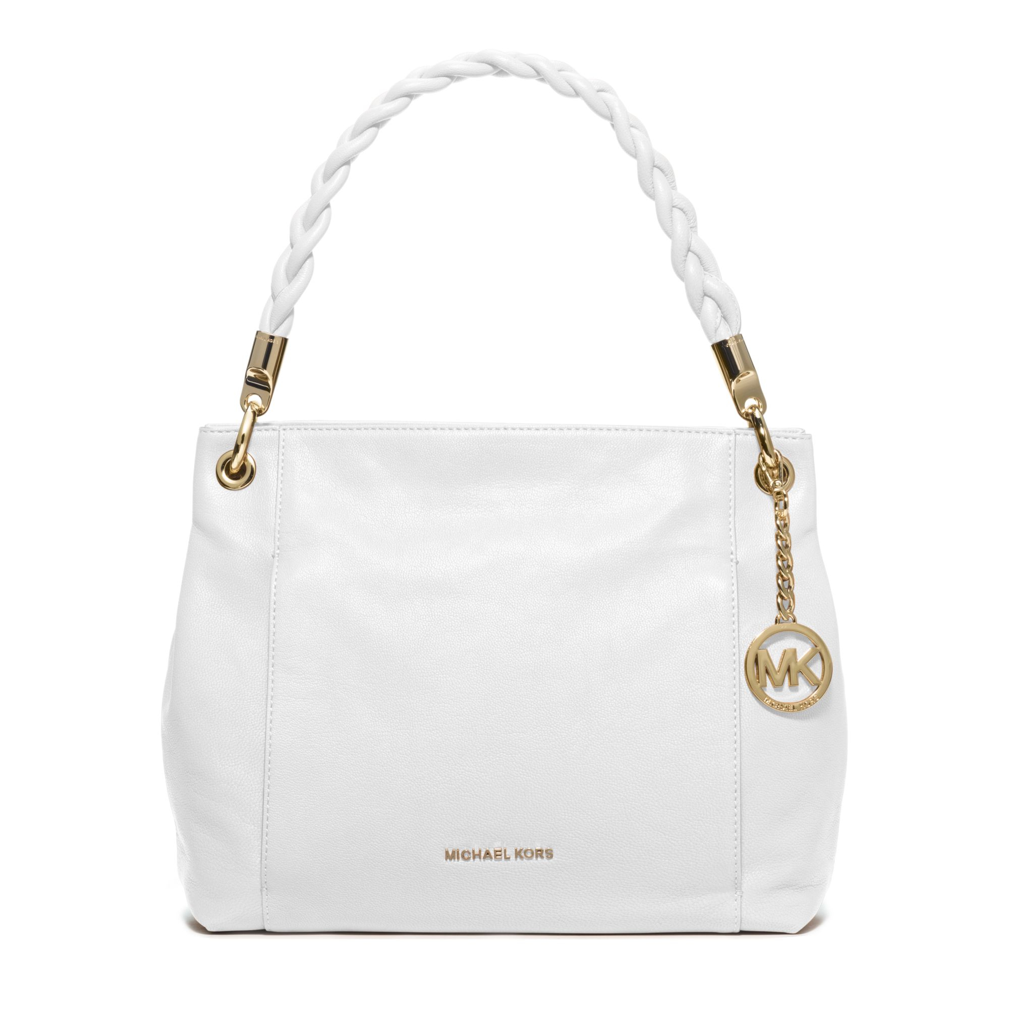6e08f84cb low cost lyst michael kors naomi leather top handle bag in white e60c6 99467