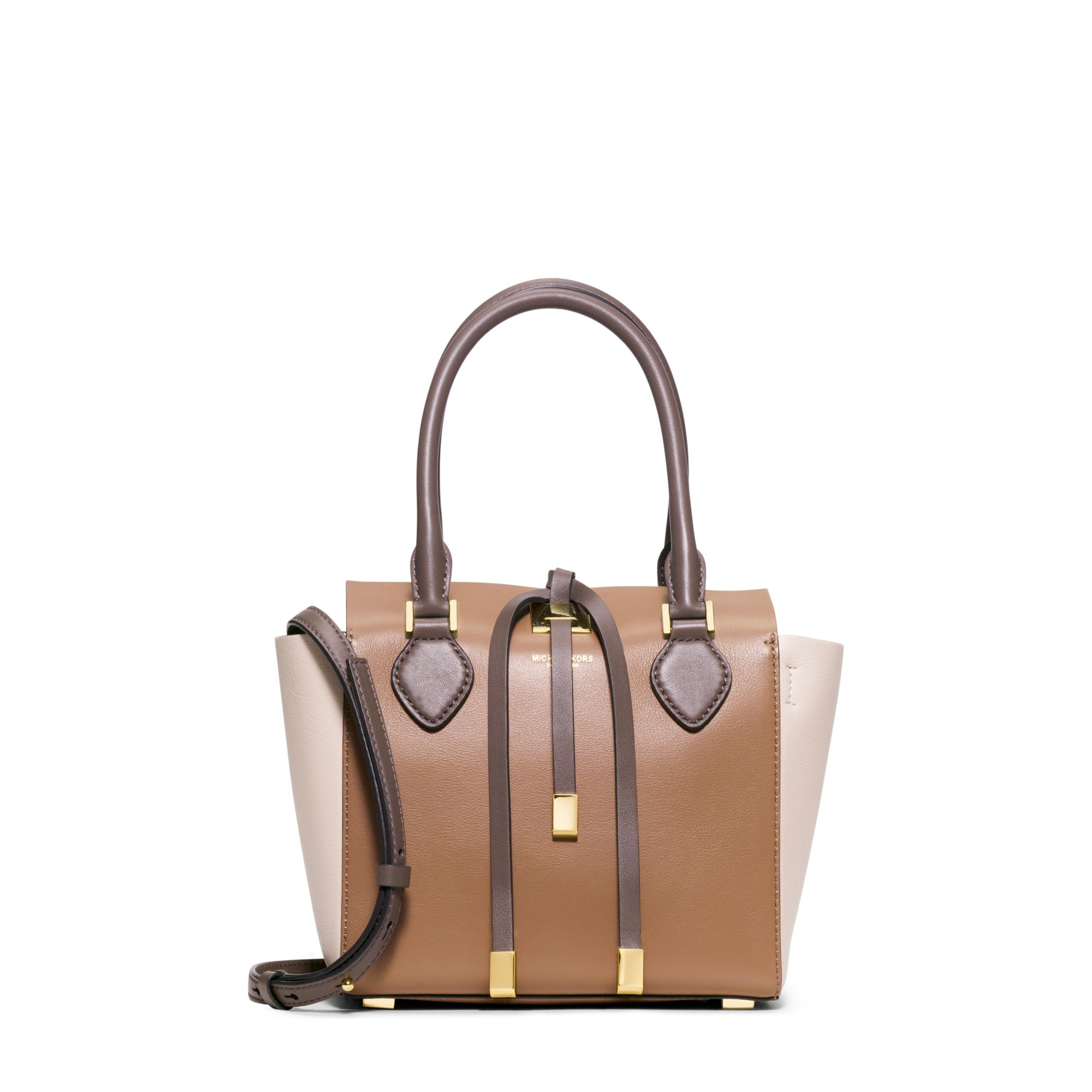 michael kors miranda extra small color block leather crossbody in natural lyst. Black Bedroom Furniture Sets. Home Design Ideas