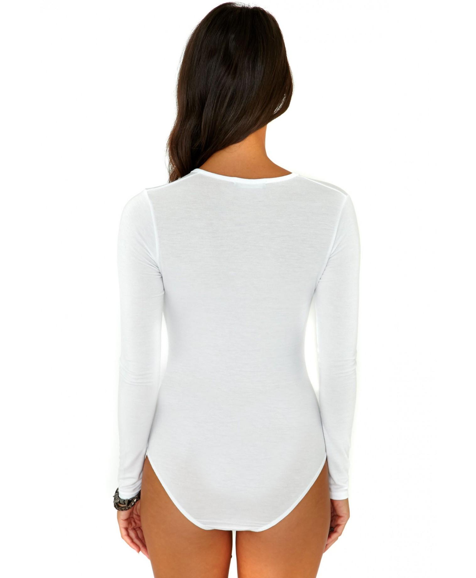 2170c0746f Missguided Guanita Long Sleeve V-Neck Bodysuit In White in White - Lyst