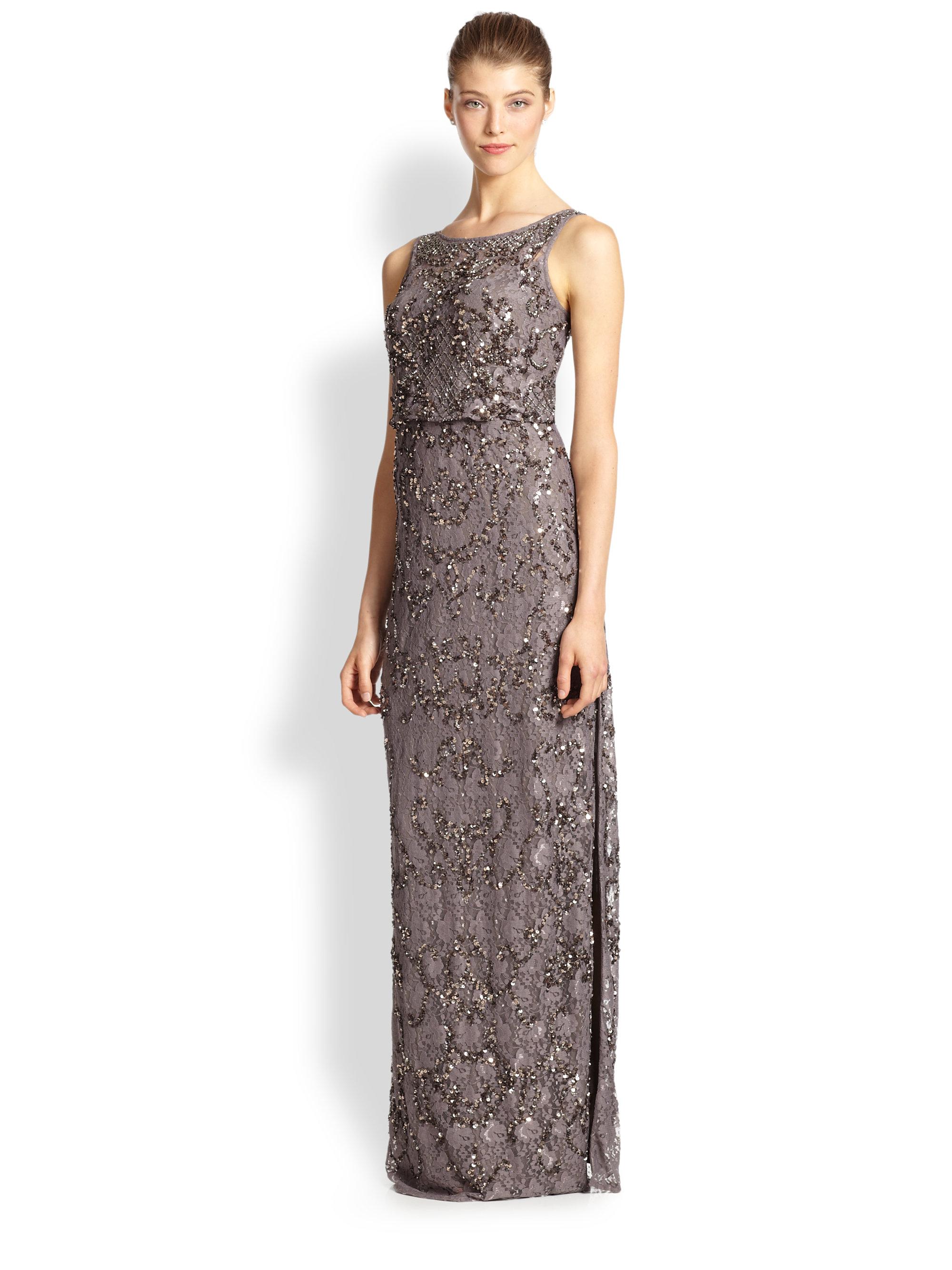 Lyst - Aidan Mattox Beaded Lace Gown in Metallic