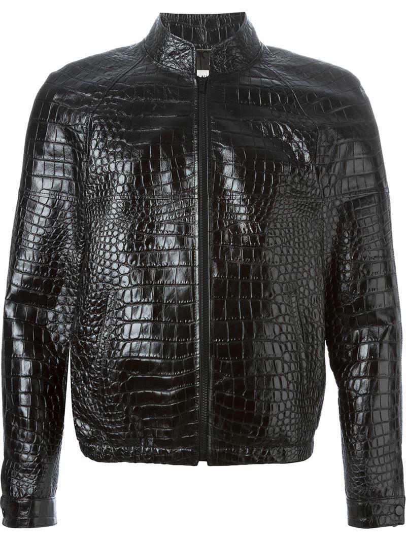 Lyst Saint Laurent Crocodile Embossed Jacket In Black