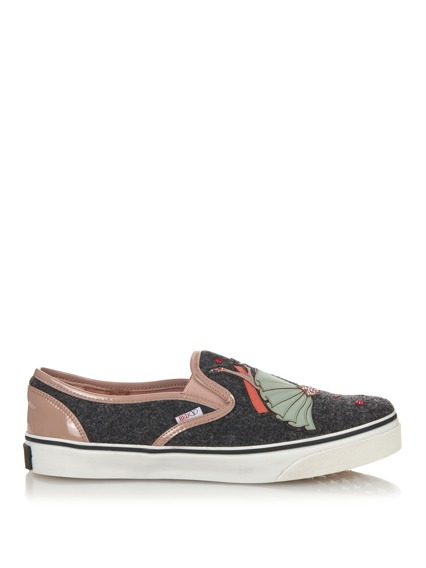 ba8540f87eb0 Lyst - RED Valentino Circus Embroidered-Felt Skate Shoes in Gray