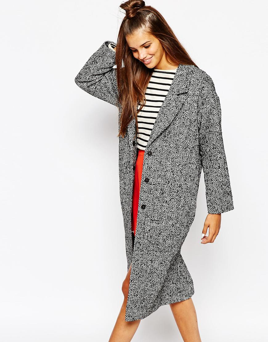 Monki Oversized Tweed Coat in Black | Lyst