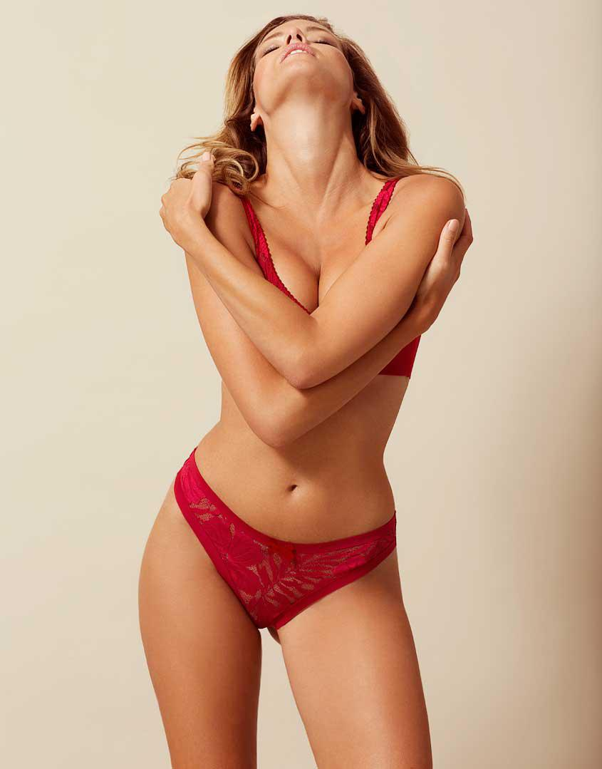 4186ee1c6f7db Agent Provocateur Audrey Thong Red in Black - Save 24% - Lyst