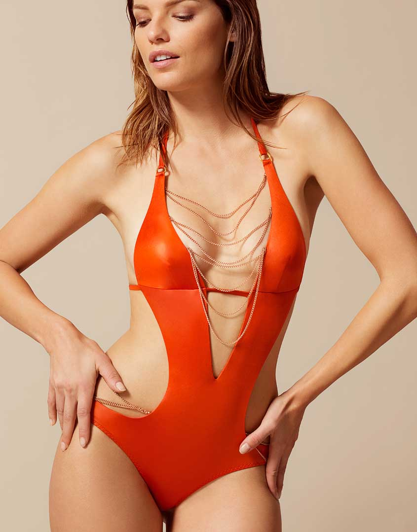 Lyst - Agent Provocateur Tonya Swimsuit Orange in Black 6c623c5a8