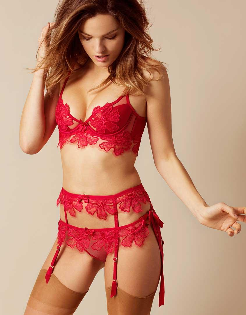 Agent Provocateur Seraphina Suspender Red in Red - Lyst 99ec3ee6a