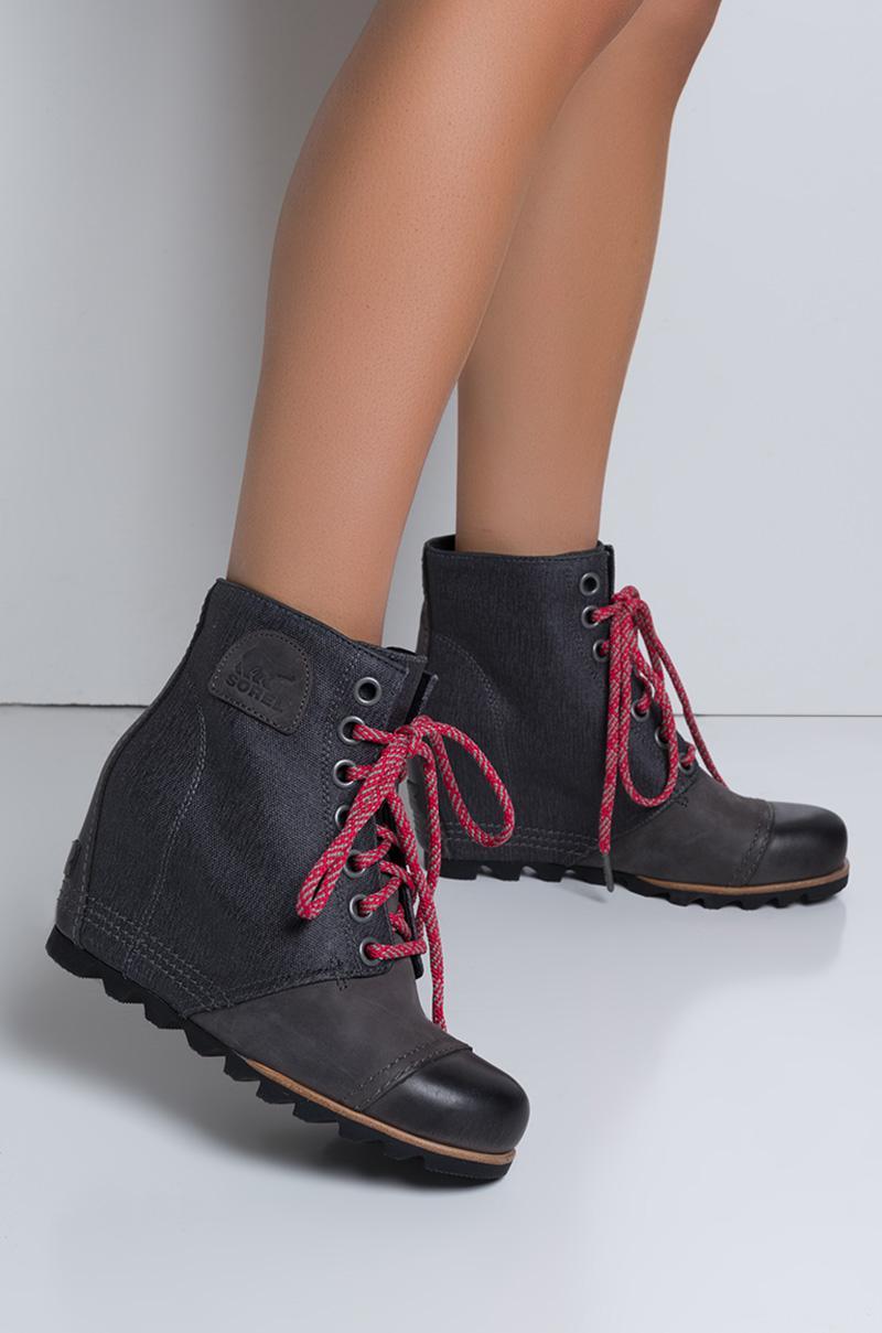 9216c93dcef Lyst - Sorel Pdx Waterproof Leather Wedge Booties in Gray