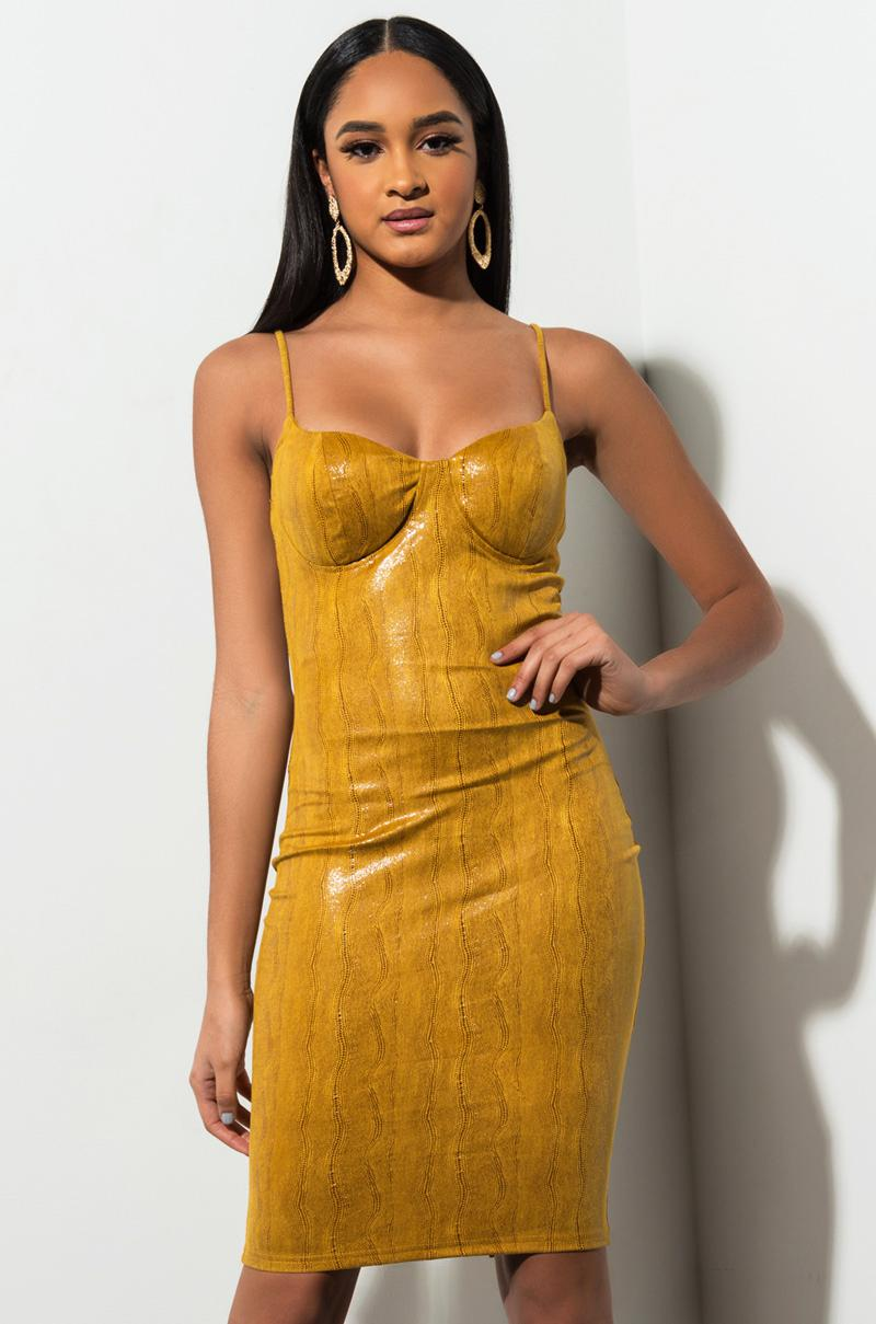 8b0f6e6a2141a Lyst - AKIRA Come Through With It Bodycon Midi Dress in Yellow