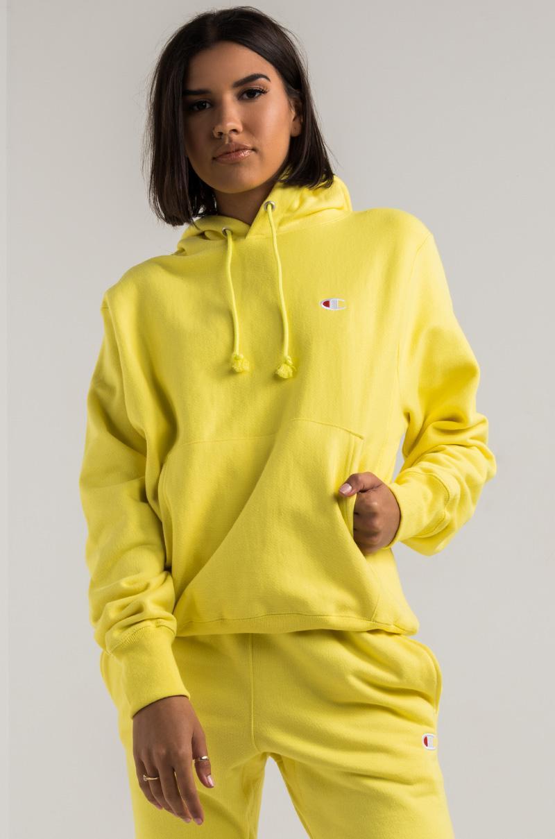 Champion Women s Reverse Weave Pullover Hoodie in Yellow - Lyst b5b745899c