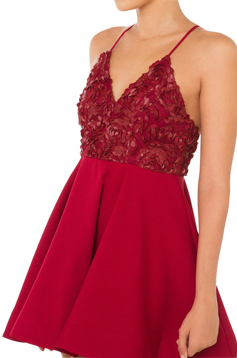 Lyst - Akira Floral Pattern Wire Dress - Red in Red