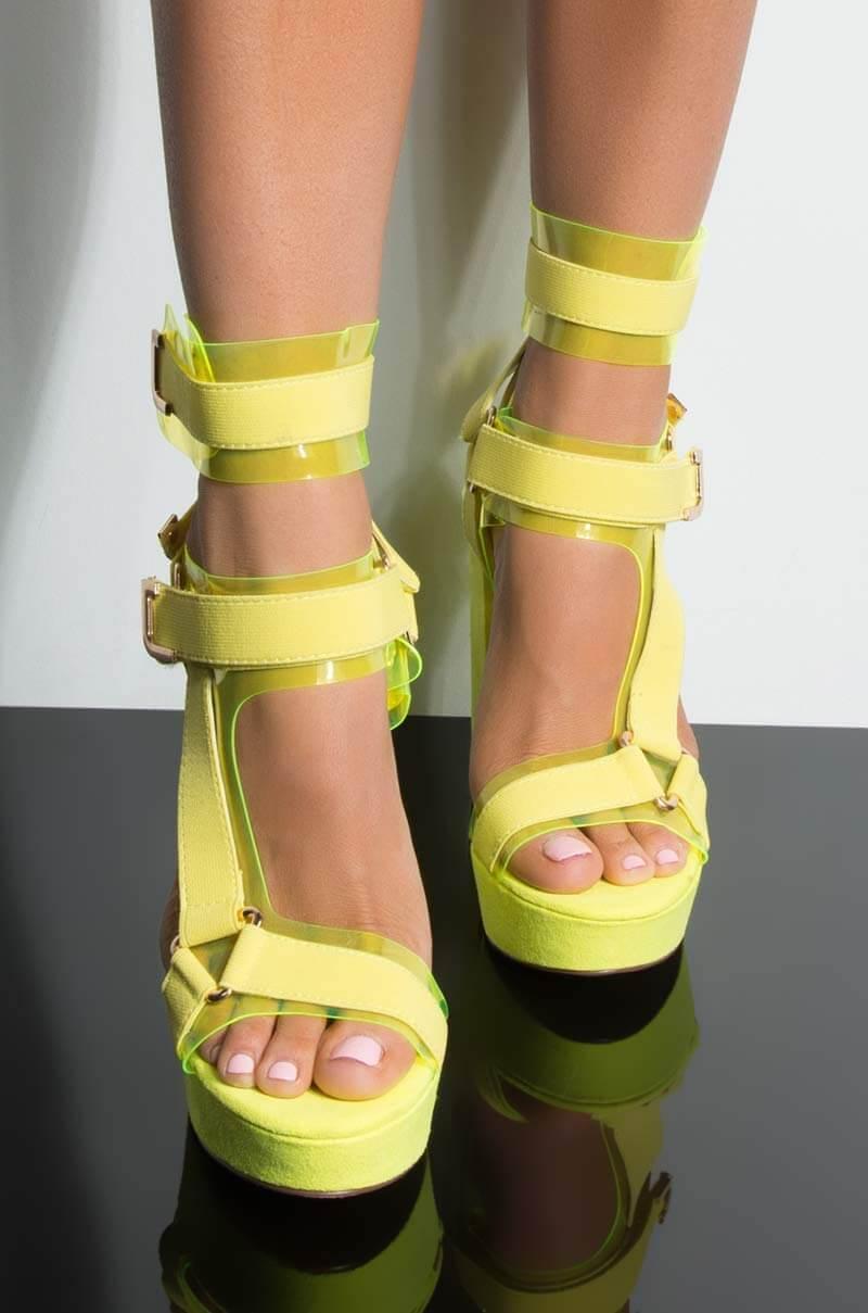 ddb370d9b24e Lyst - Unk Dont Panic Platform Chy Heeled Sandal in Yellow