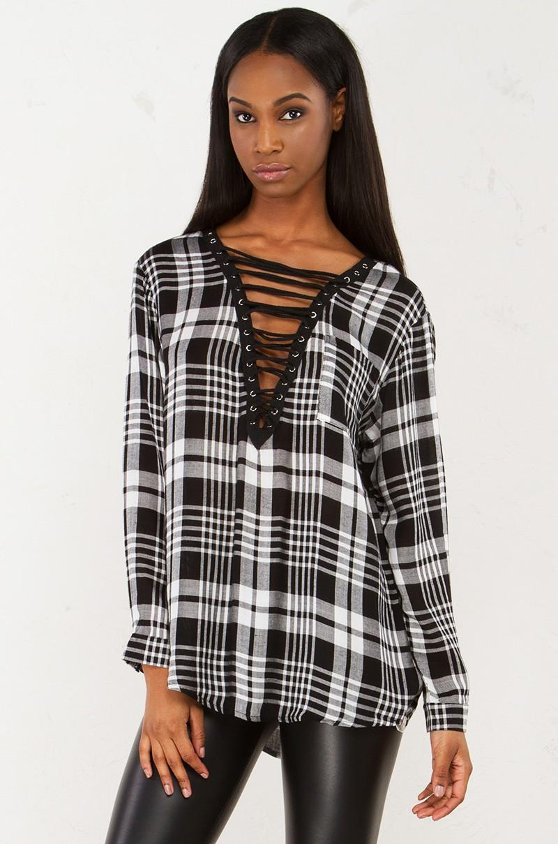 Lyst akira plaid lace up long sleeve top in black for Akira long sleeve shirt