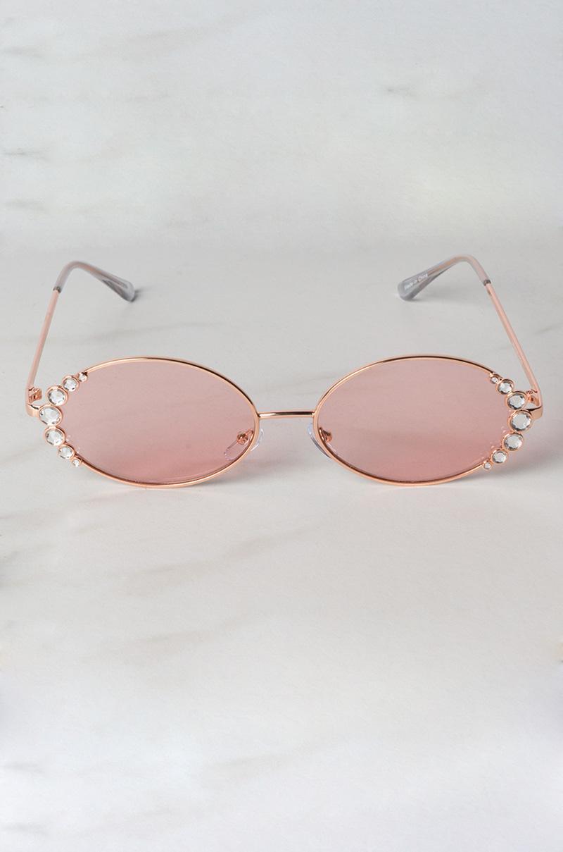 04d1796f9174 Lyst - Akira Look Right Rhinestone Sunglasses in Pink