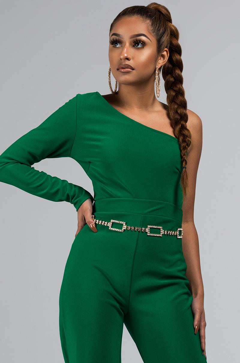 b96b88abcb9cc AKIRA Stop The Feeling One Shoulder Crop Top in Green - Lyst