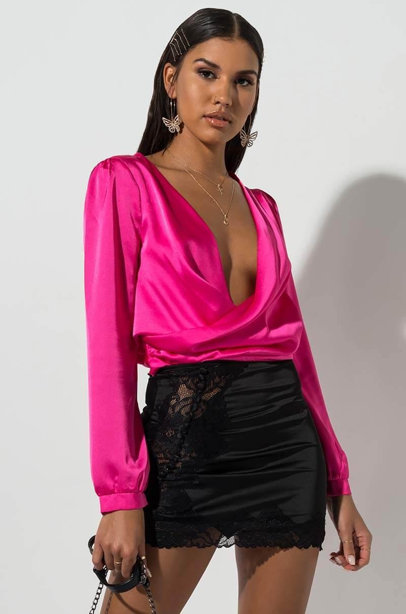 576155eef2 AKIRA Savage Taught Me Silky Mini Skirt in Black - Lyst