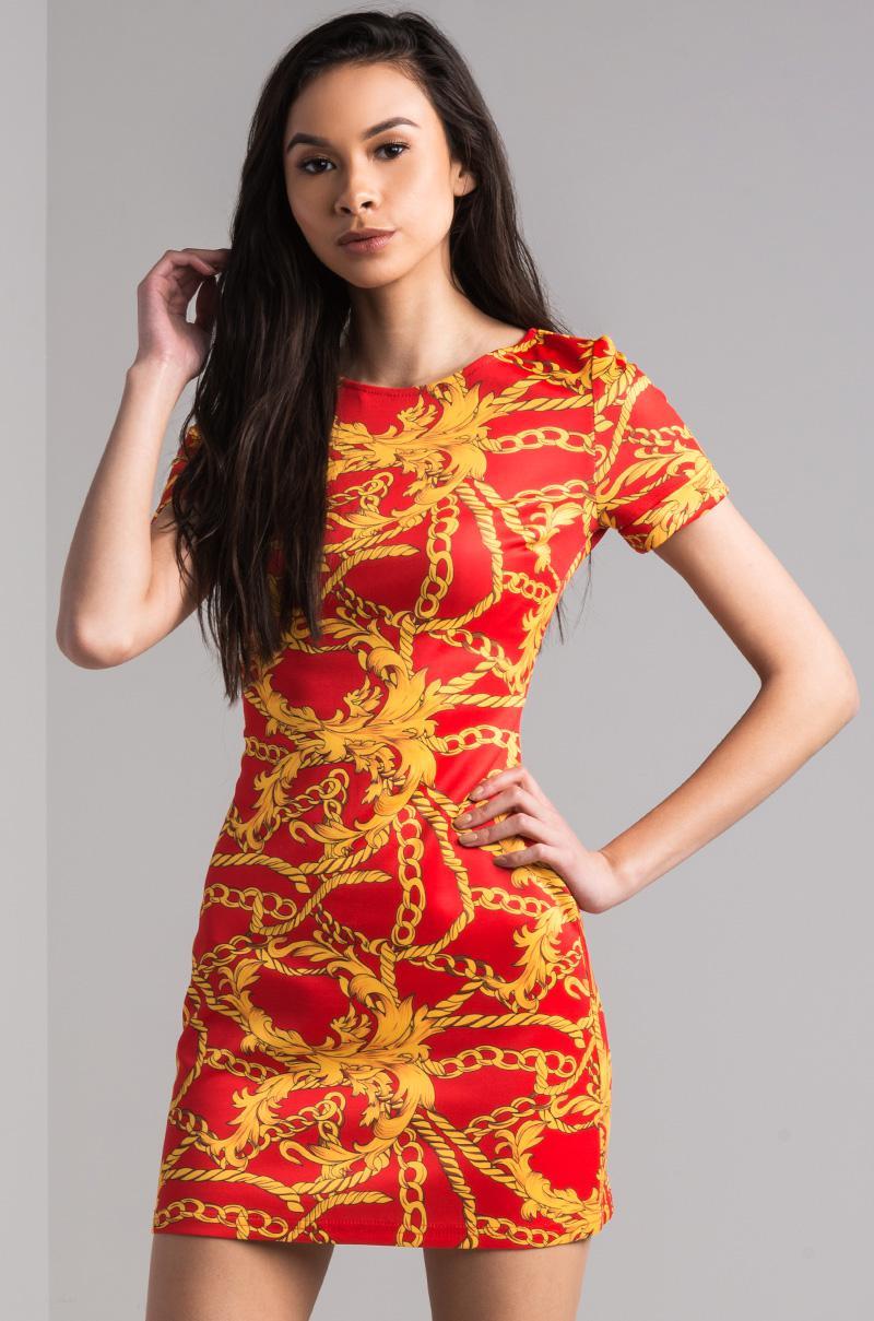 93a46d81a88c AKIRA Charter Printed Mini Dress in Red - Lyst