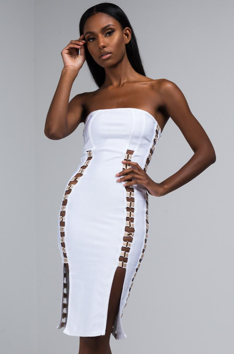 a22d05d7f87f Lyst - AKIRA Tell Me You Love Me Bandage Midi Dress in White