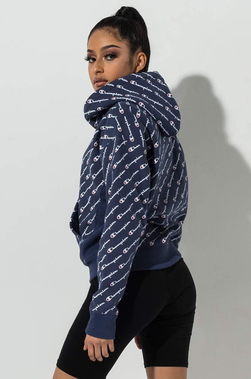 52994409dd03 ... Reverse Weave All Over Diagonal Script Print Hoodie Sweatshirt - Lyst.  View fullscreen